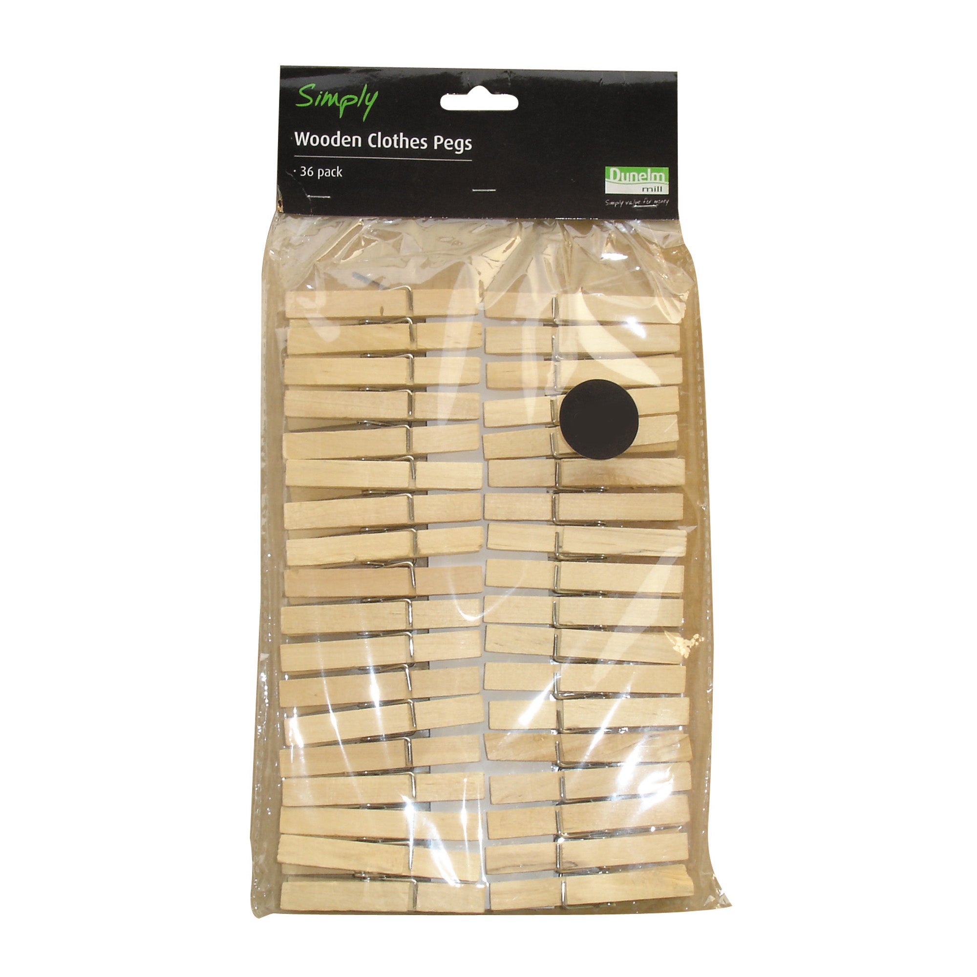 Pack of 36 Wooden Clothes Pegs