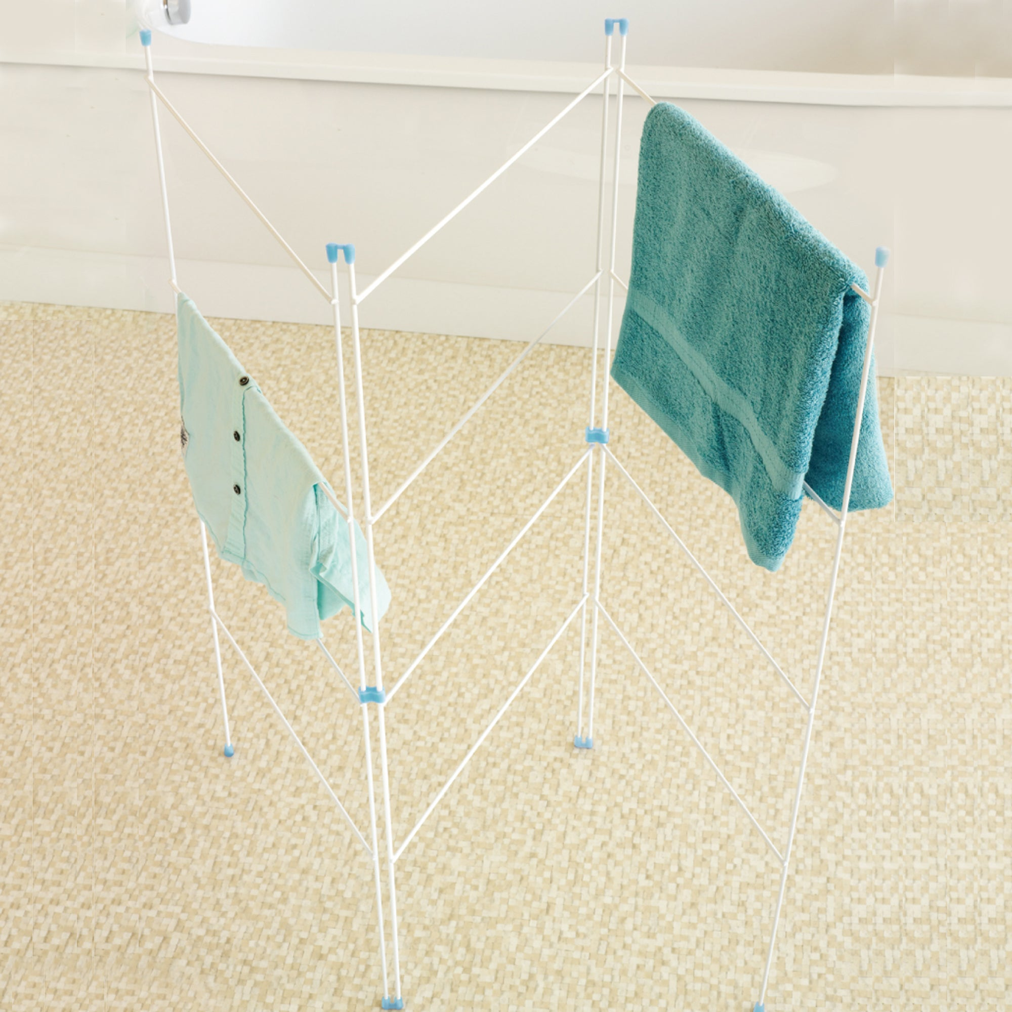 Utility Room White 3 Fold Airer