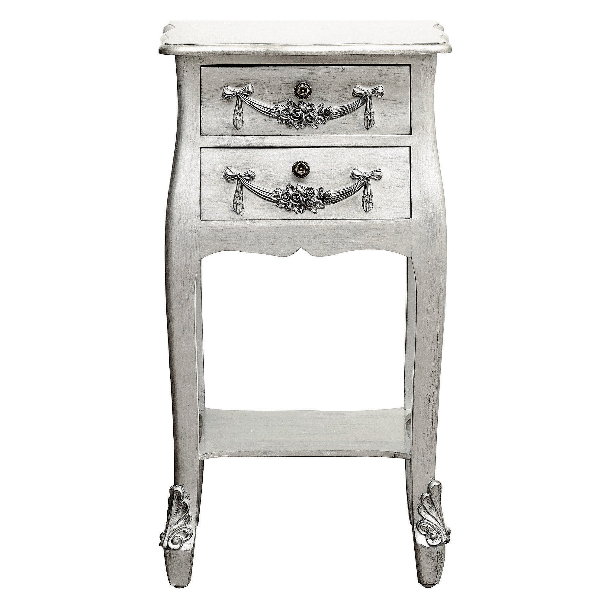 Toulouse Silver 2 Drawer Nightstand
