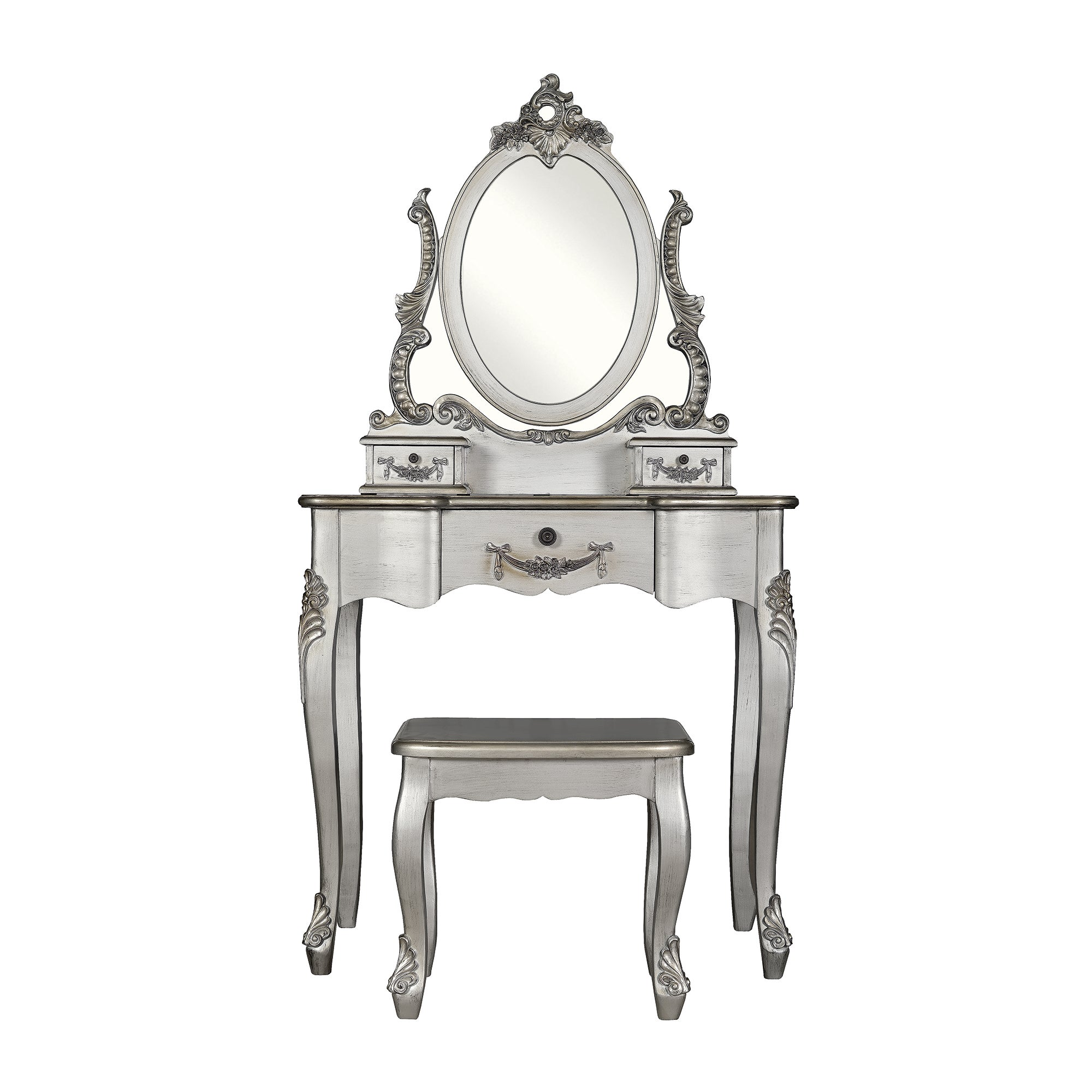 Toulouse Silver Dressing Table and Stool