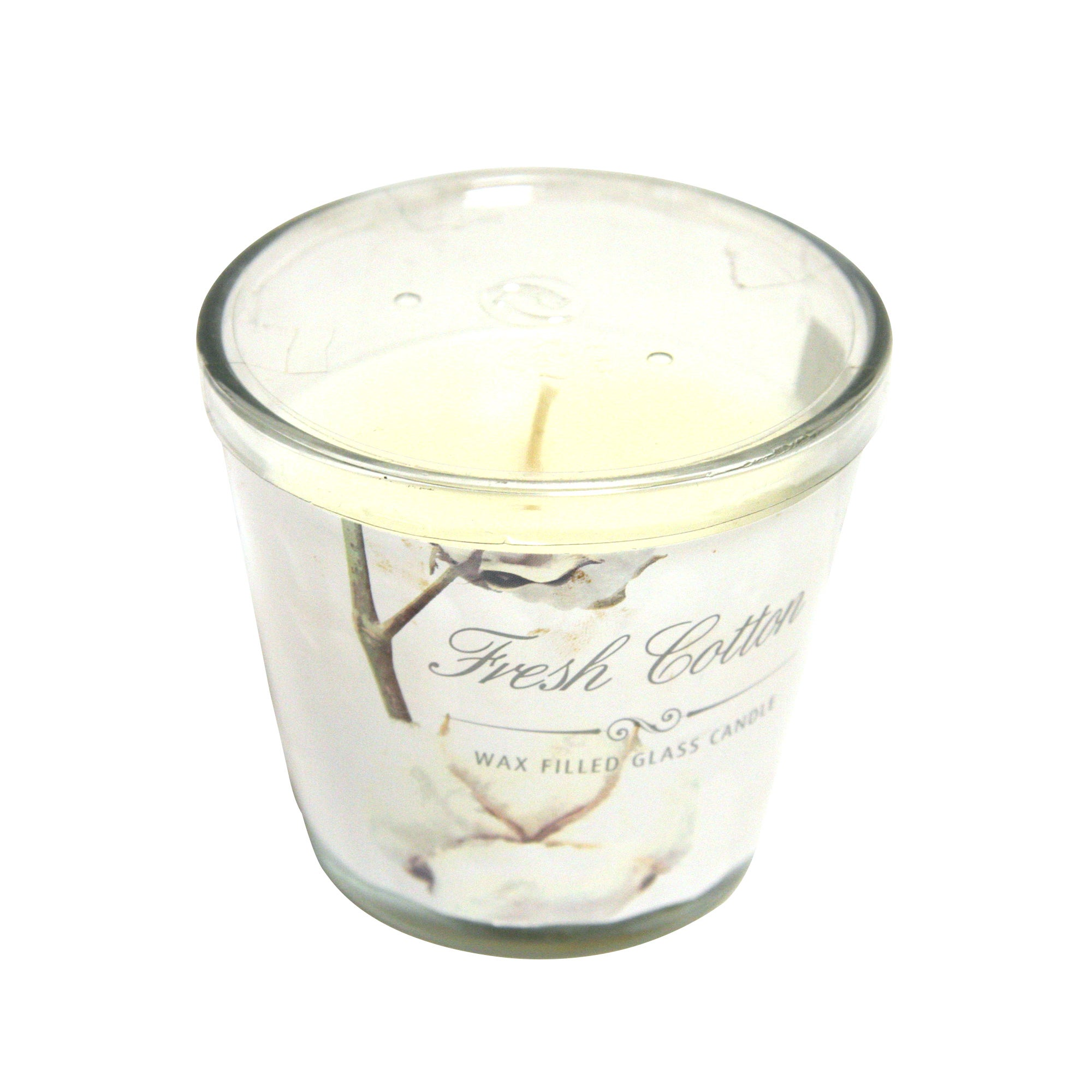 Fresh Cotton Wax Filled Glass Candle