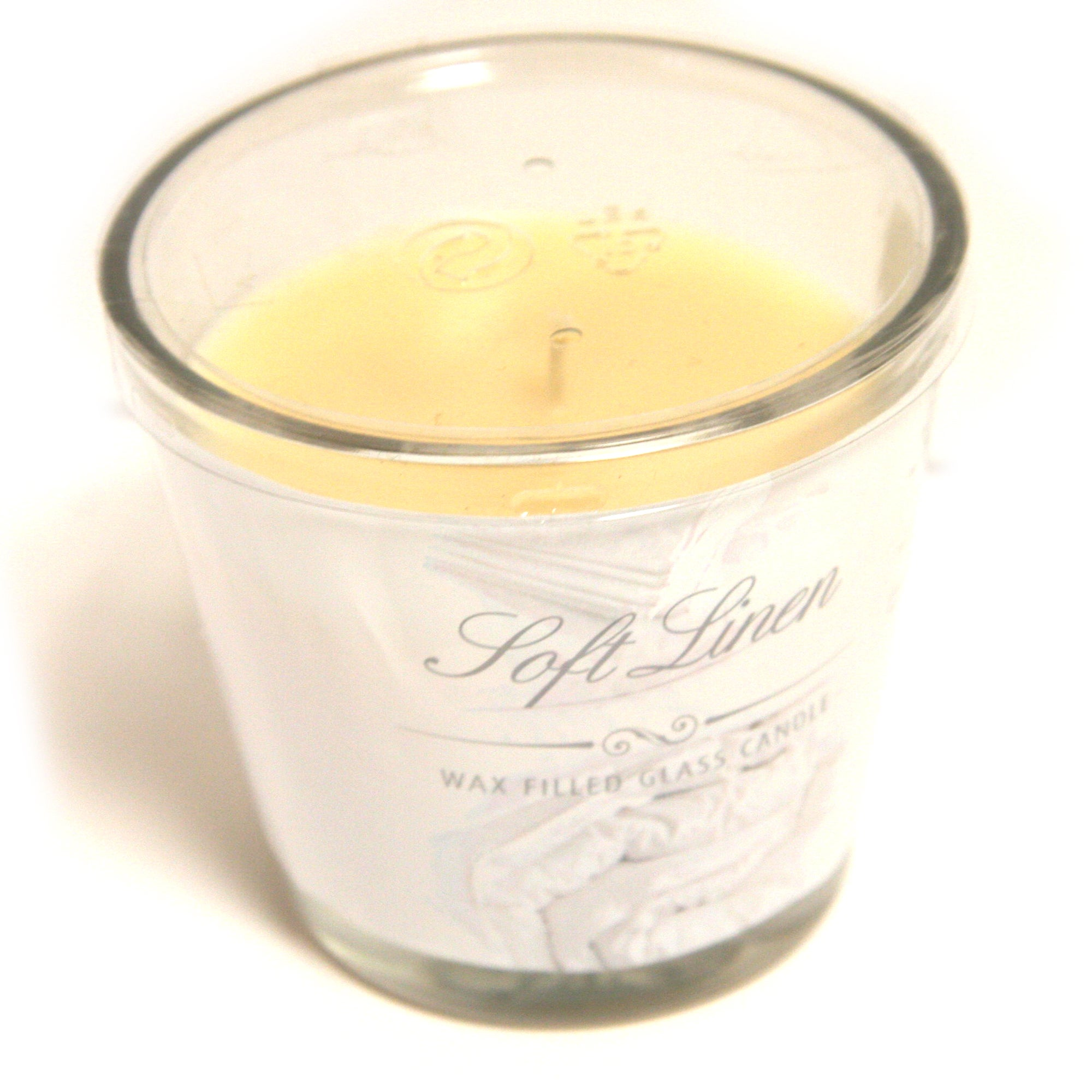 Soft Linen Wax Filled Glass Candle