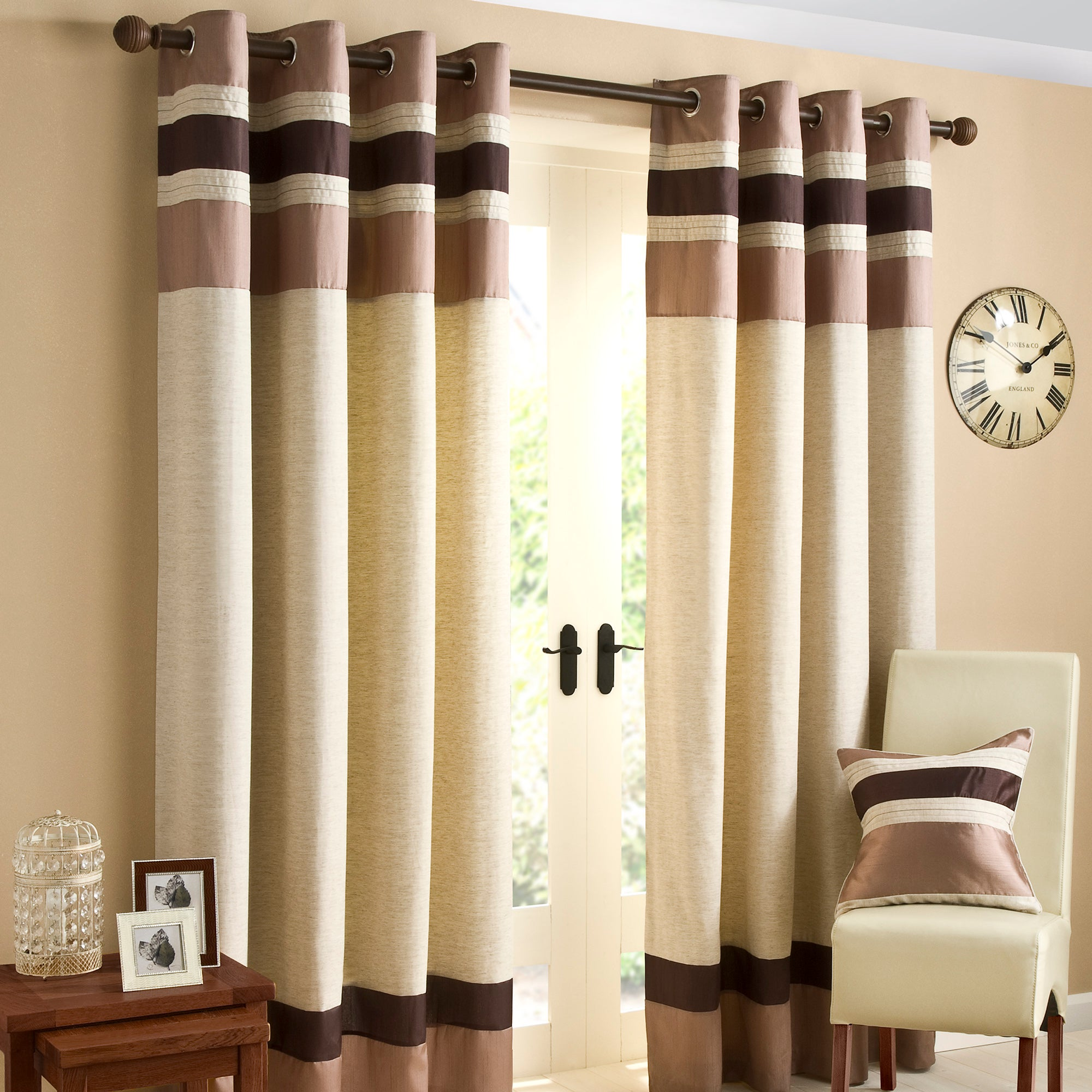 Chocolate Alban Eyelet Curtain Collection