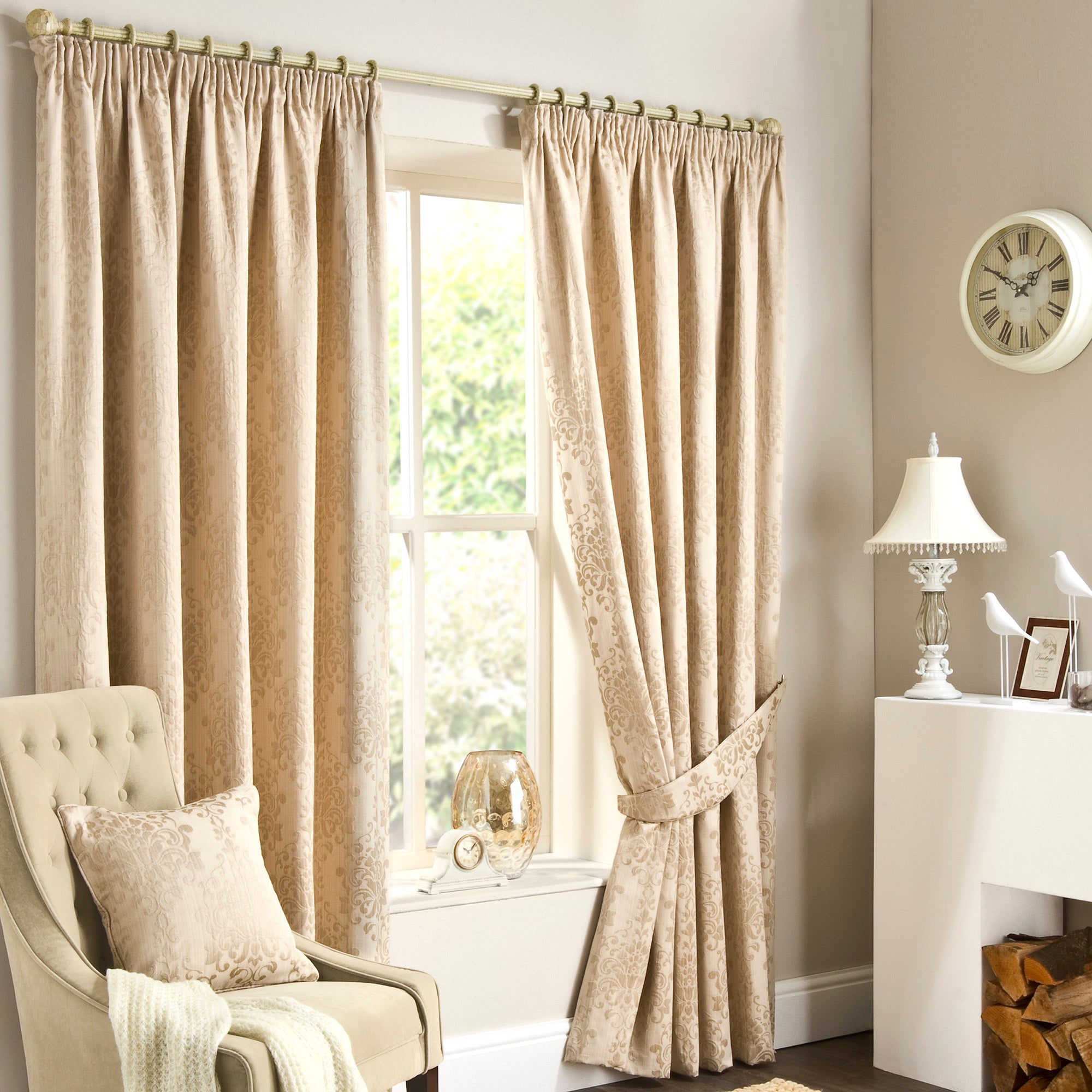 Natural murano curtain collection dunelm for Space fabric dunelm