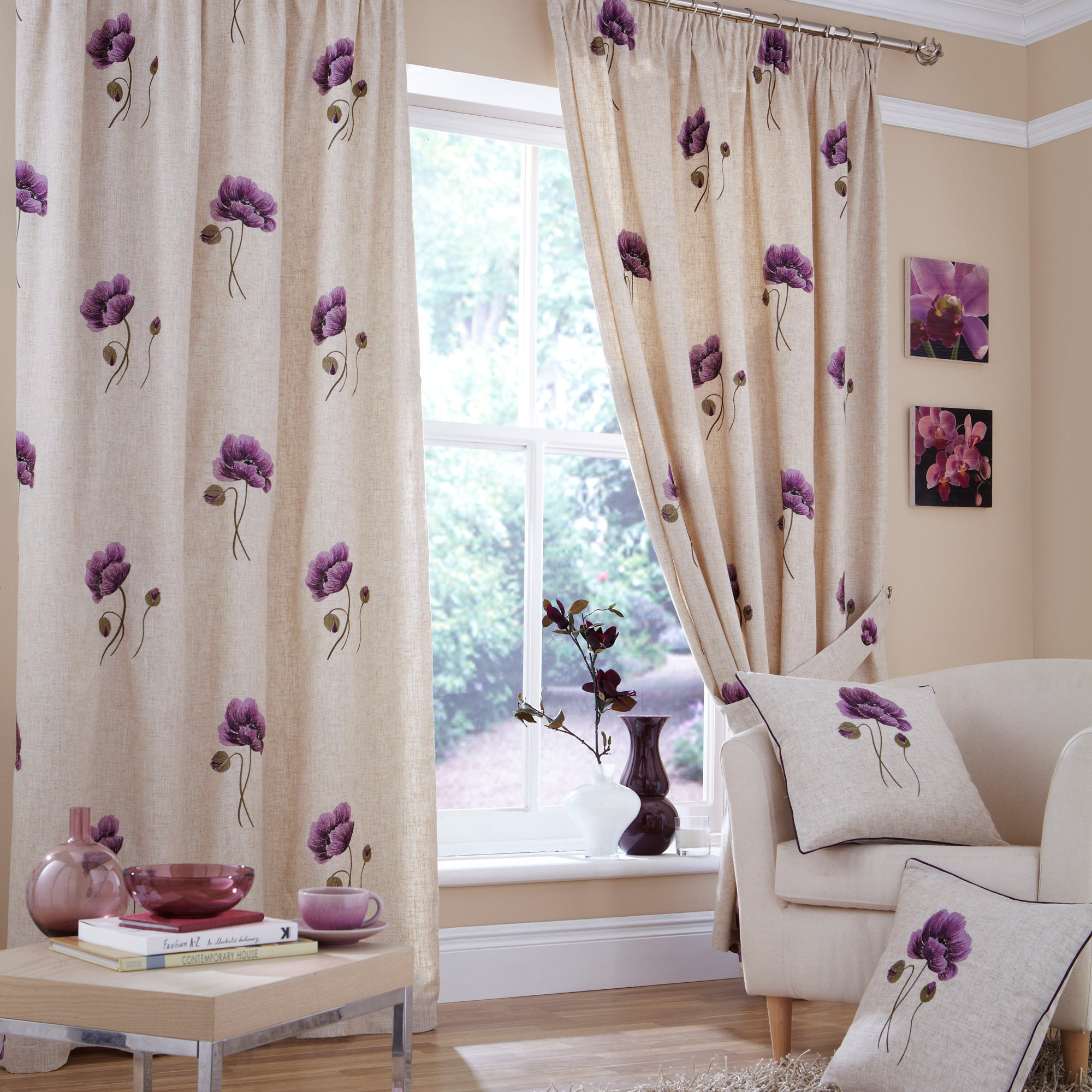 Plum Vintage Poppy Curtain Collection