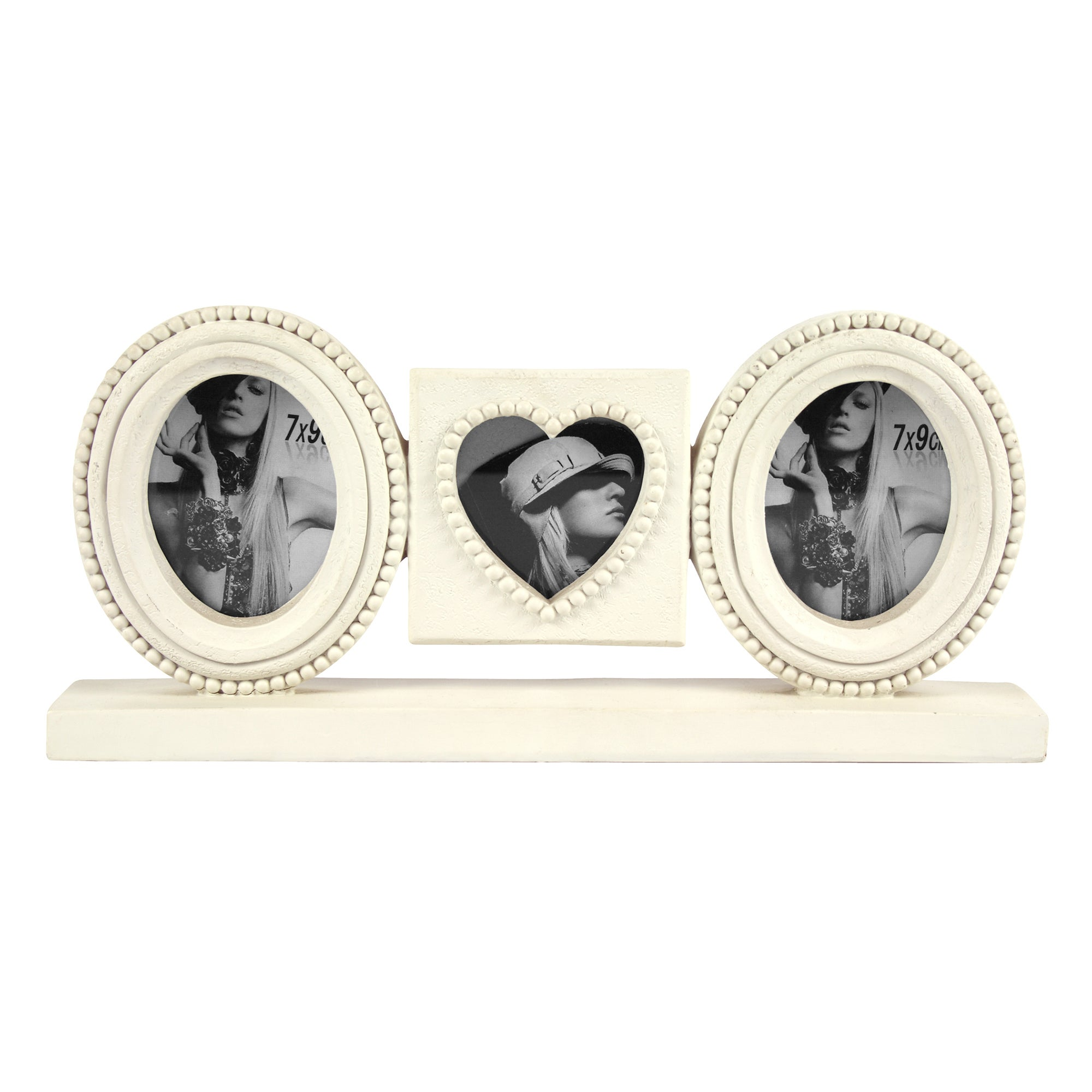 3 Cream Ovals & Heart Frames on a Stand