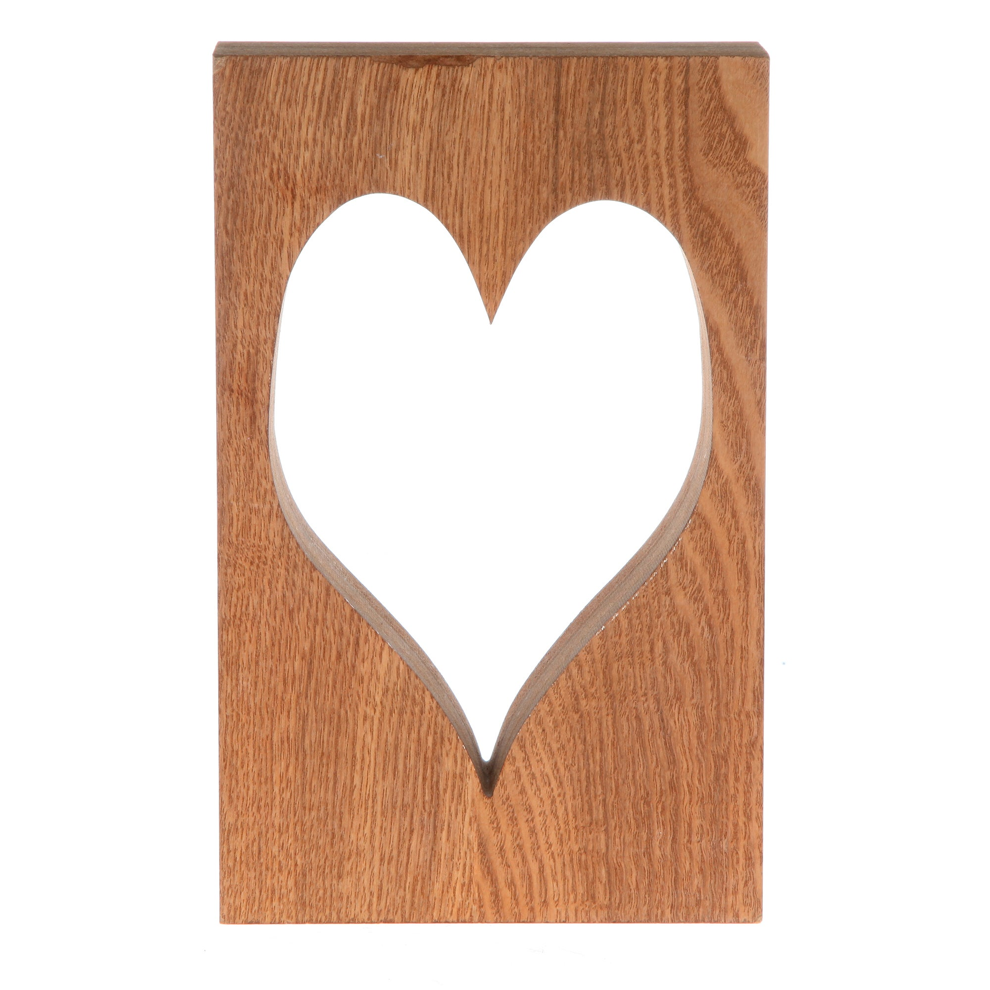 Wooden Block with Heart Cut Out