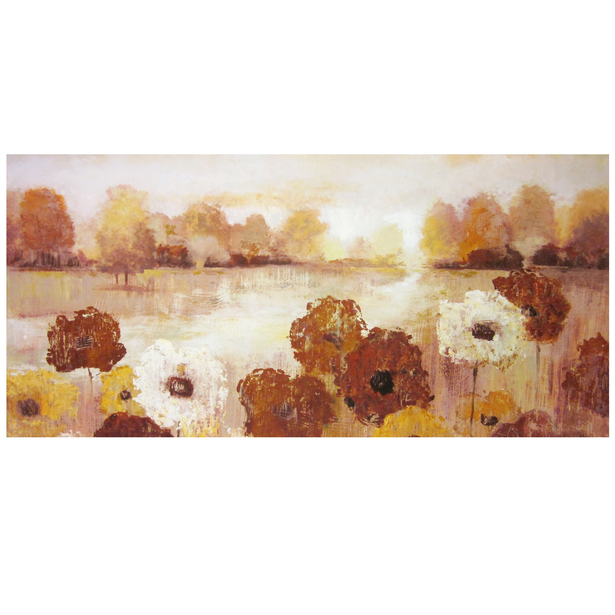 Flowers By Water Printed Canvas