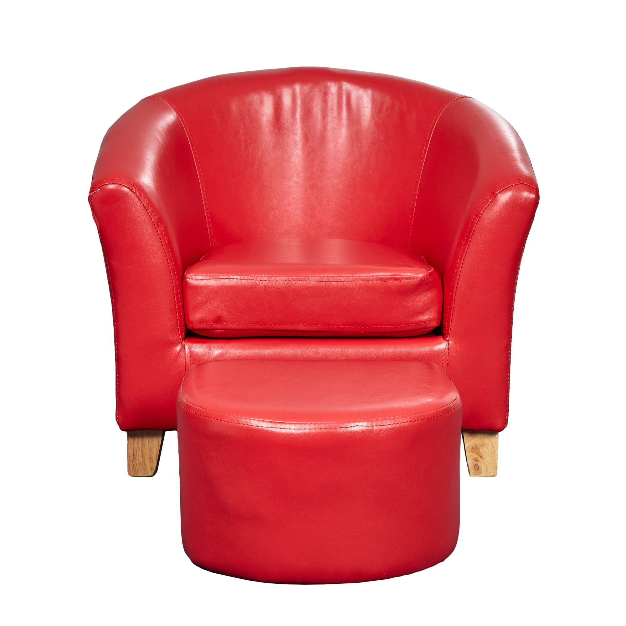Kids Red Faux Leather Tub Chair and Stool Red