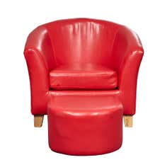 Kids Red Leather Faced Tub Chair and Stool