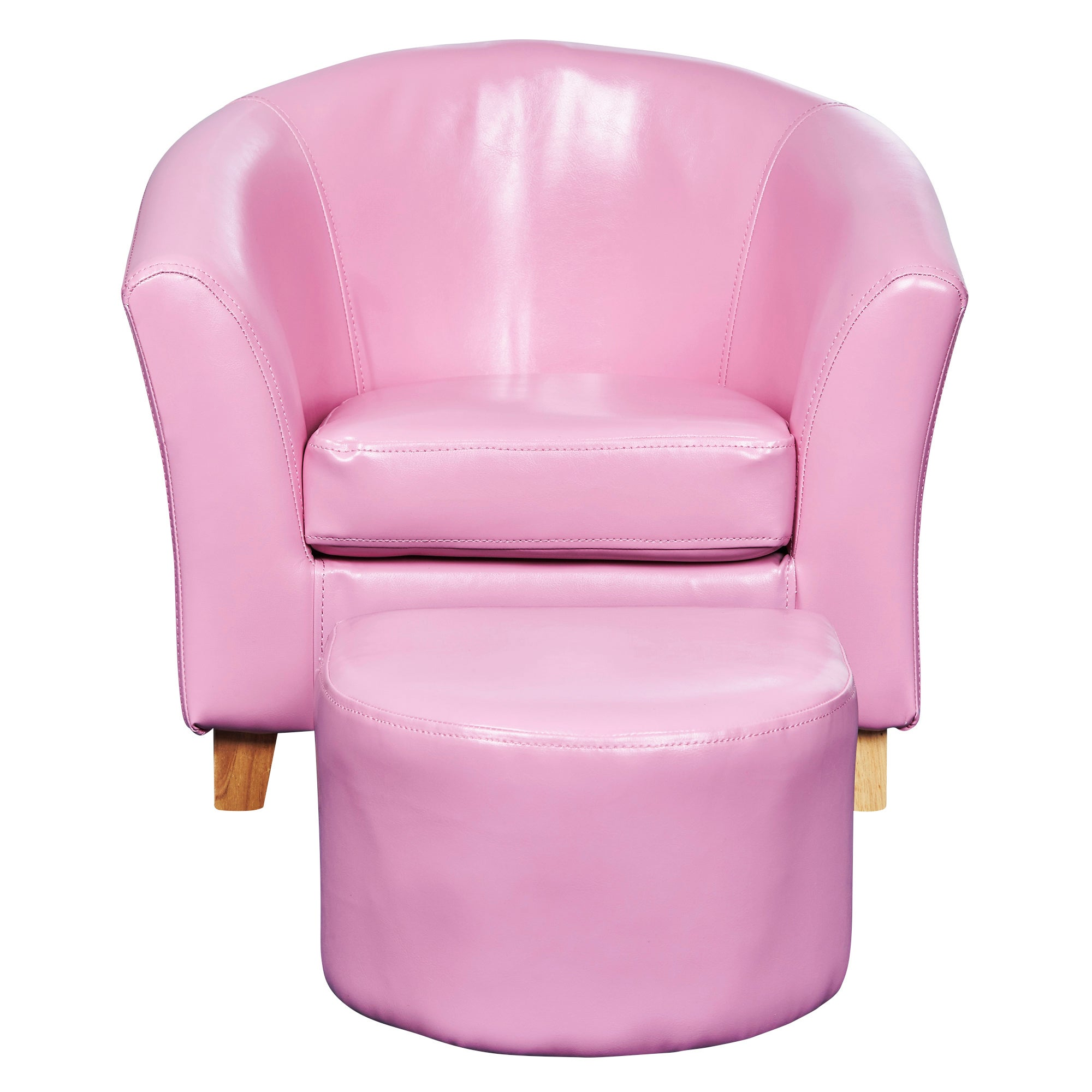 Kids Pink Faux Leather Tub Chair and Stool
