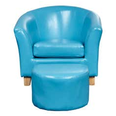 Kids Blue Leather Faced Tub Chair and Stool