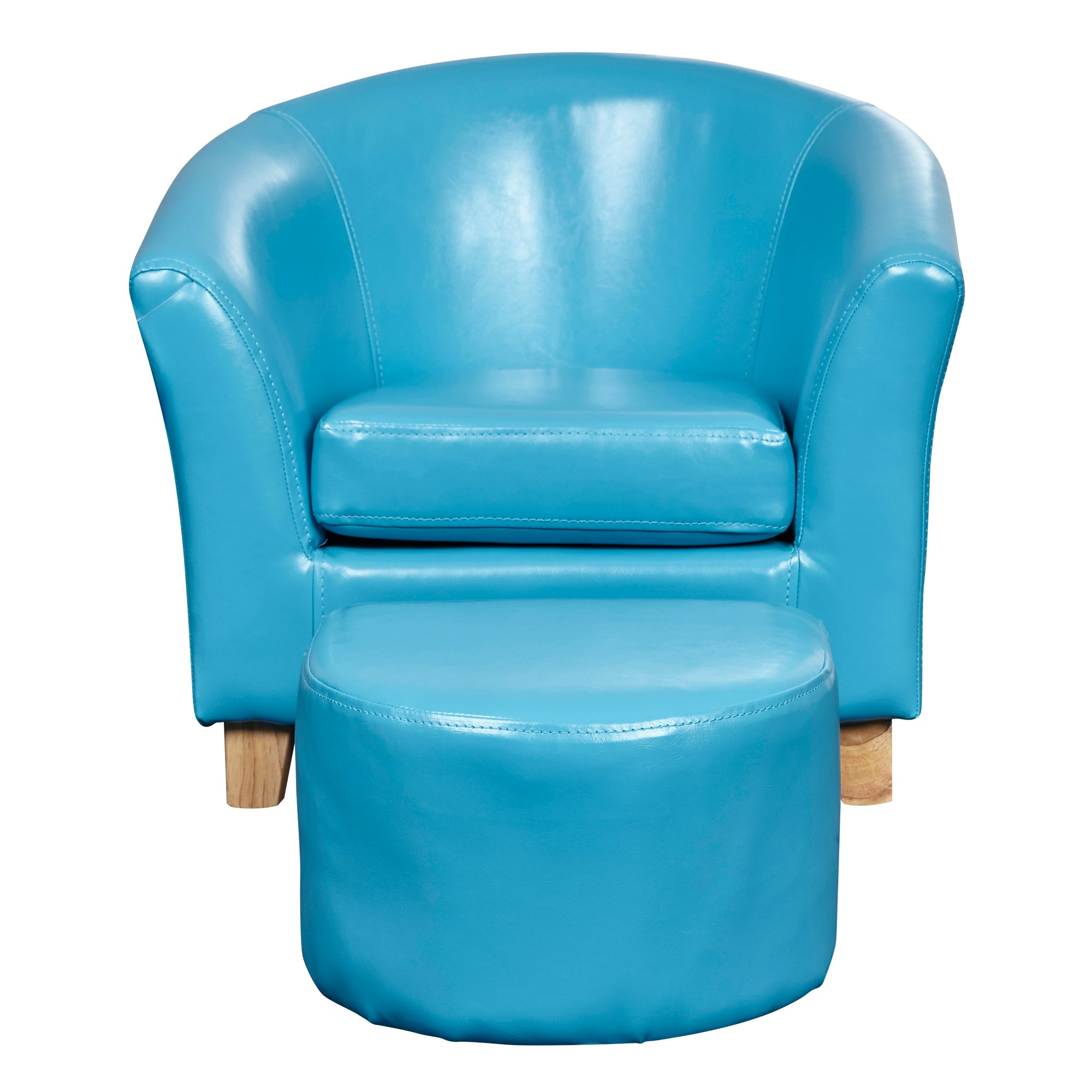 Kids Blue Faux Leather Tub Chair and Stool