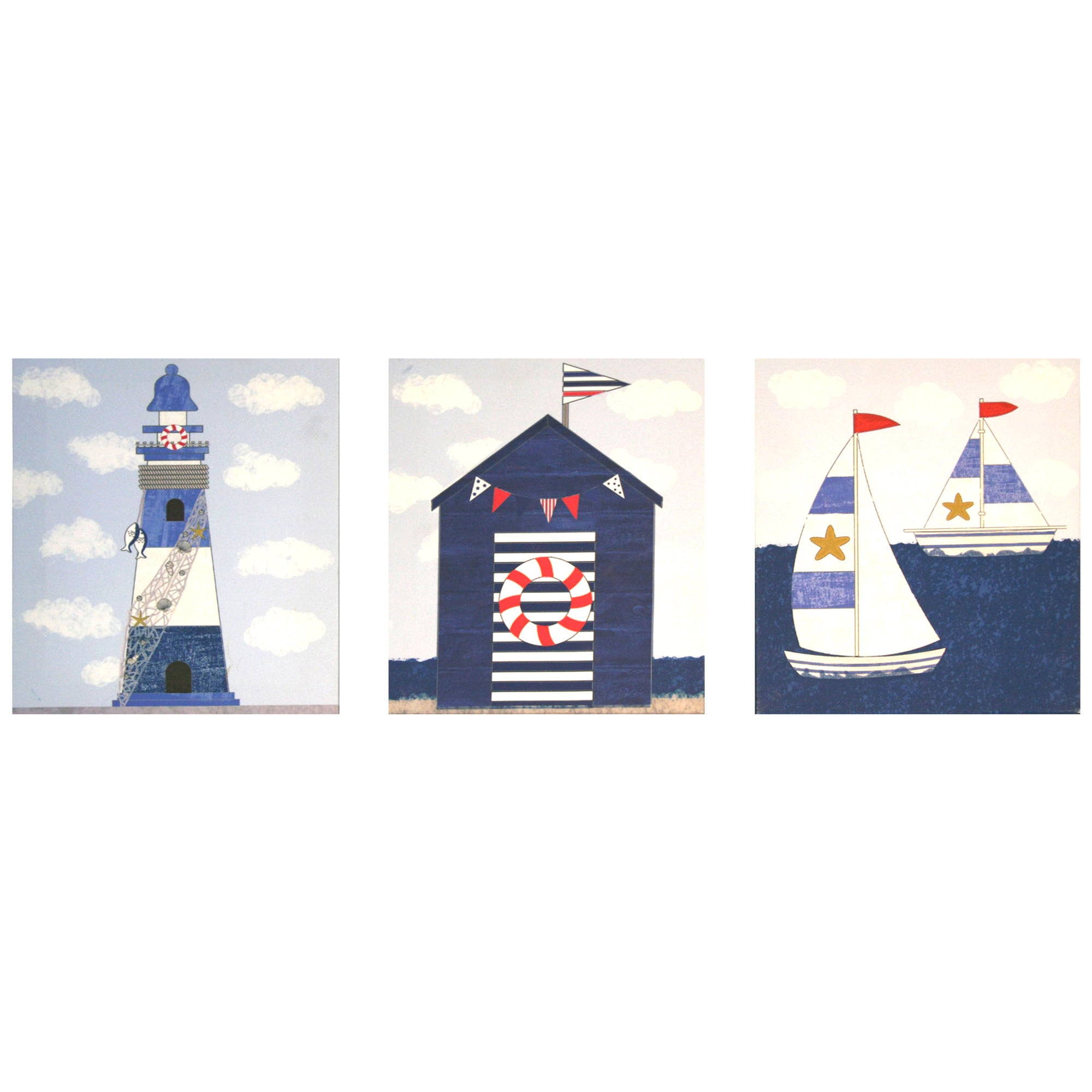 Set of 3 Coastal Canvases
