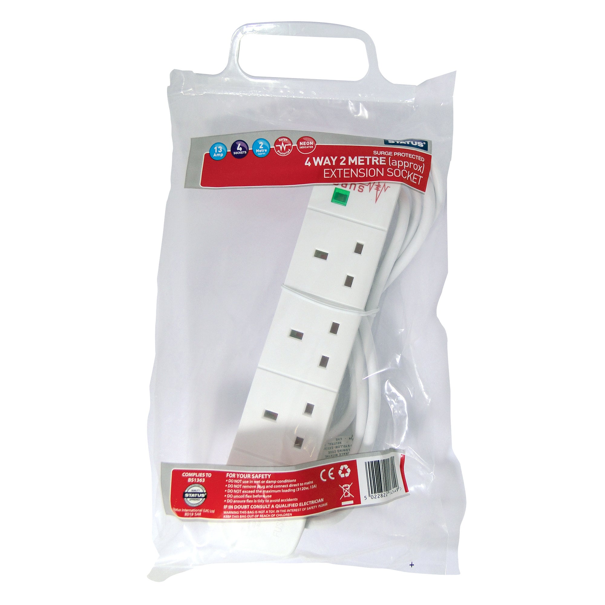 Status 4-Way 2 Metre Surge Protected Extension Lead