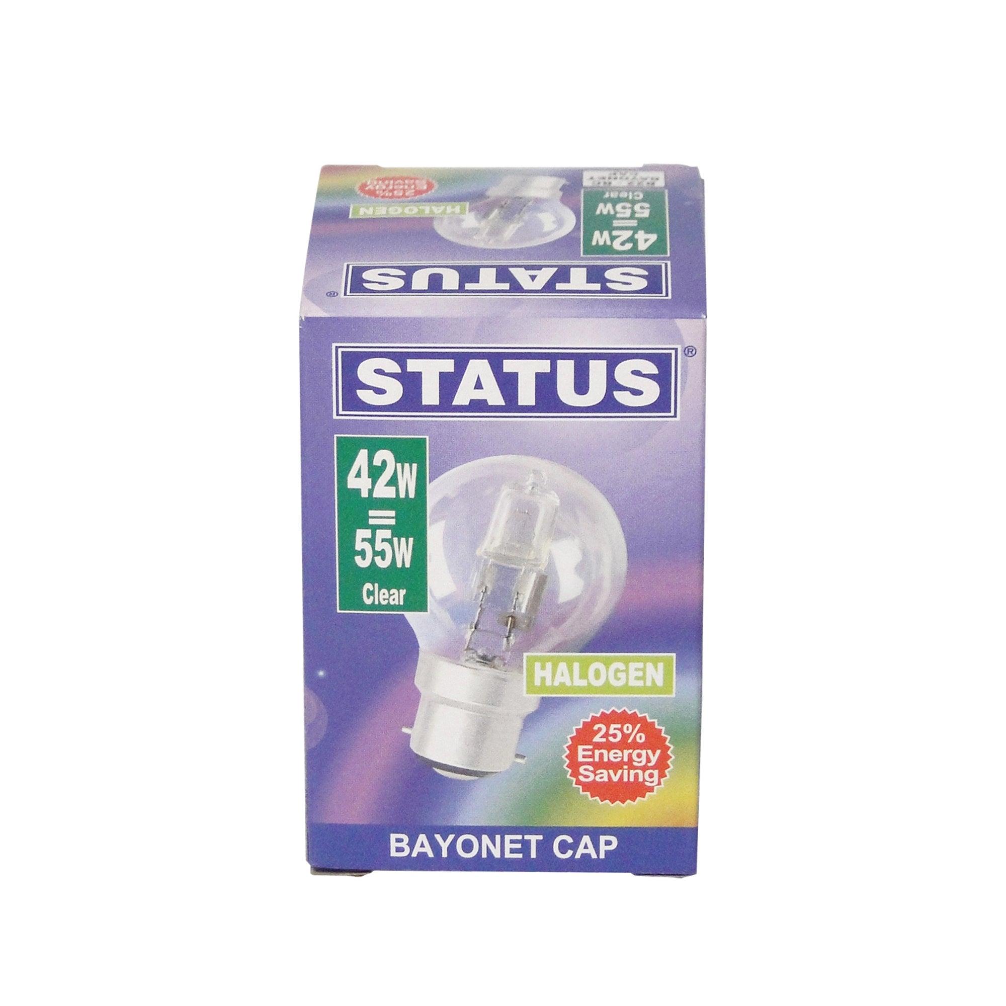 Status Halogen Energy Saver BC 42 Watt Globe Bulb