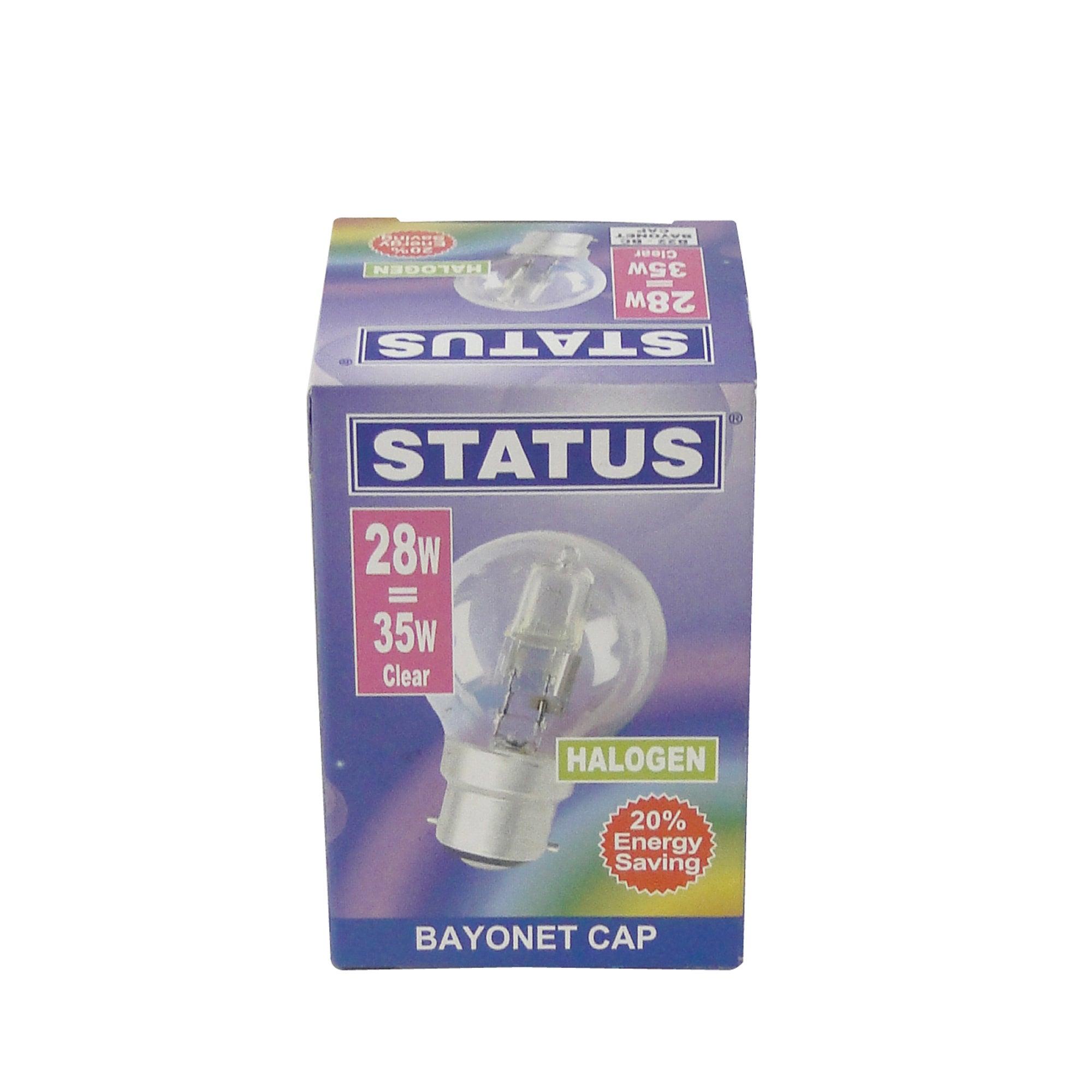 Status Halogen Energy Saver BC 28 Watt Round Bulb