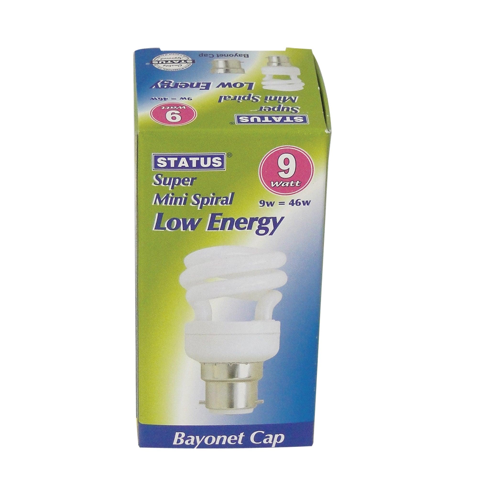 Status Halogen Energy Saver BC 9 Watt Spiral Bulb