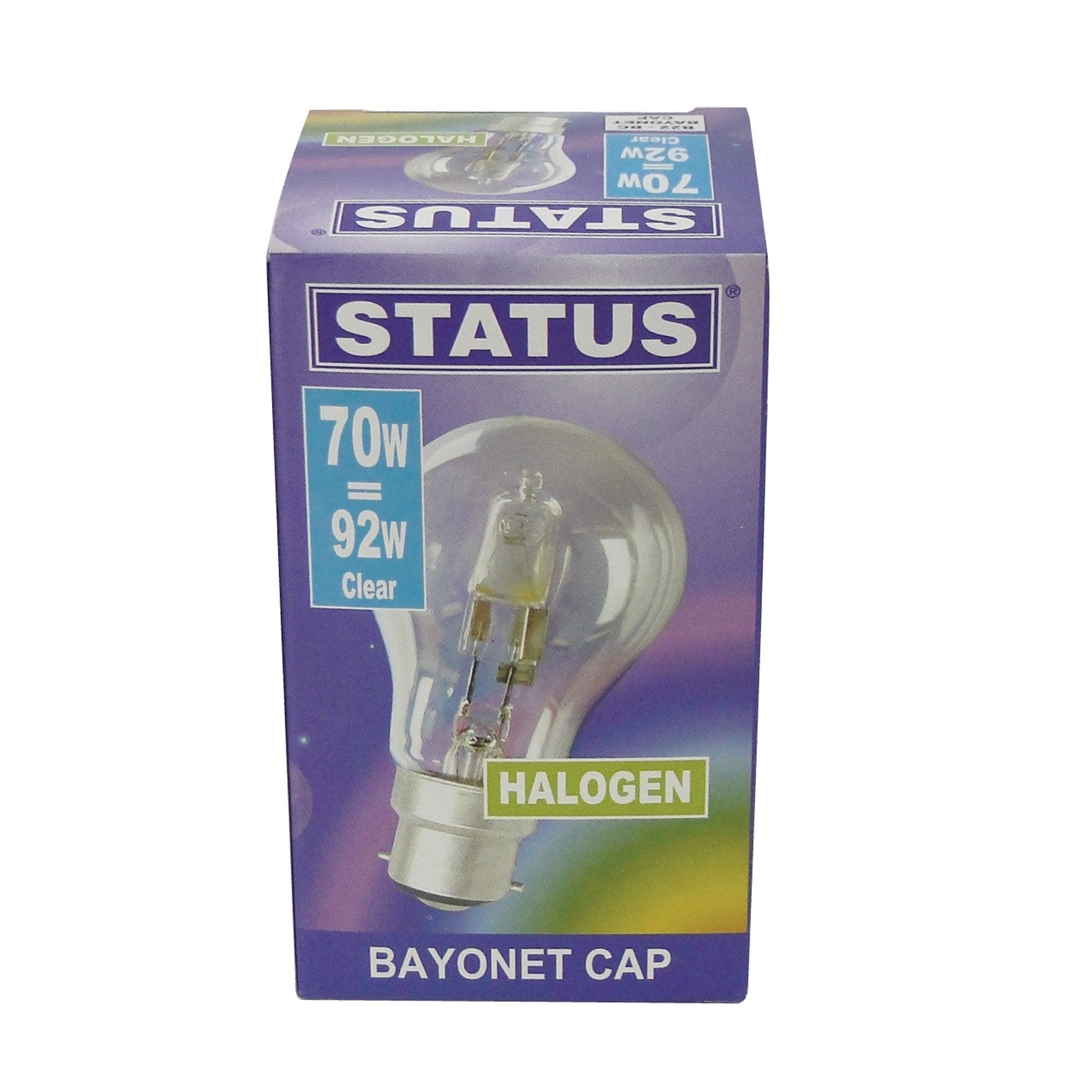 Status Halogen Energy Saver GLS 70 Watt Bulb