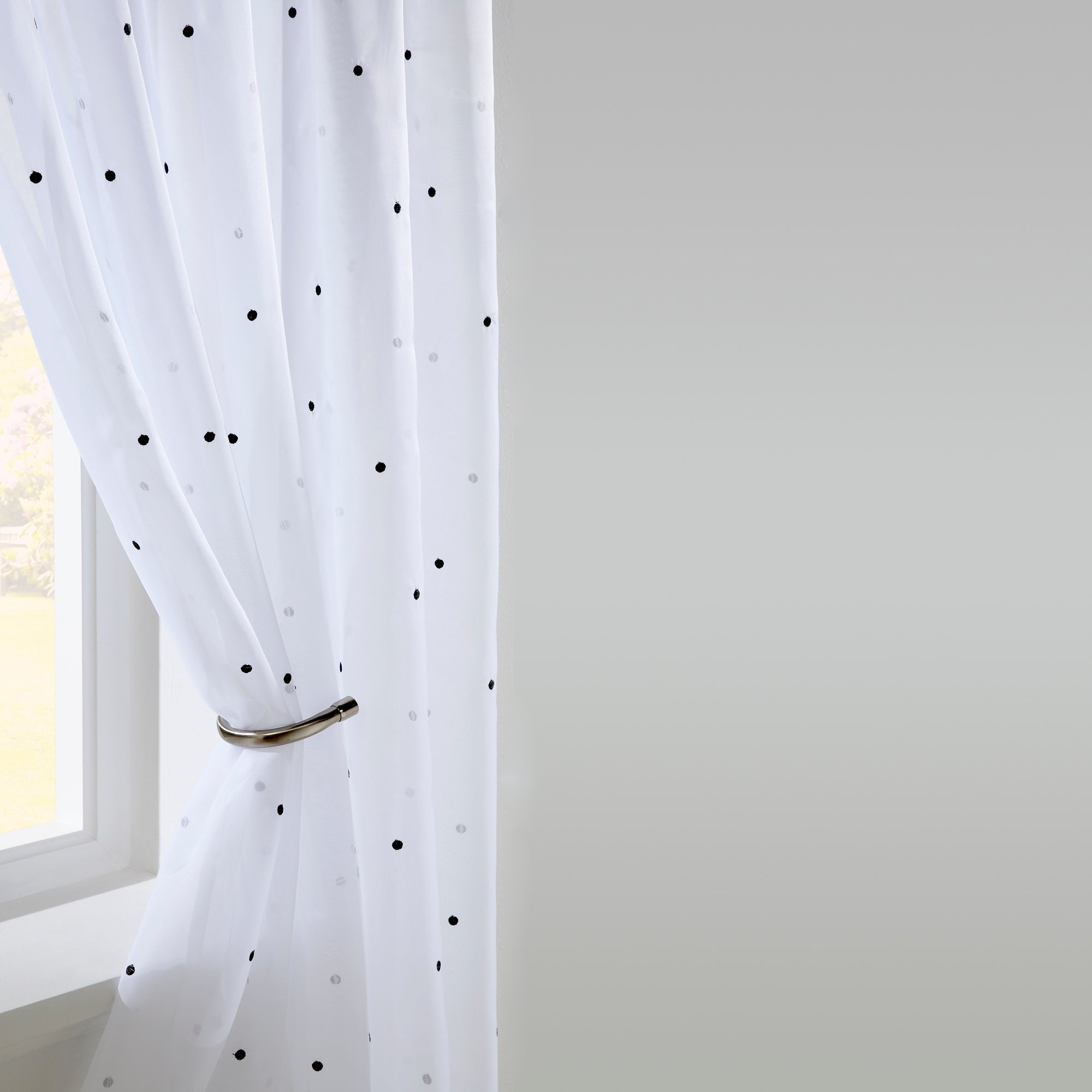 Black Dotty Voile Panel