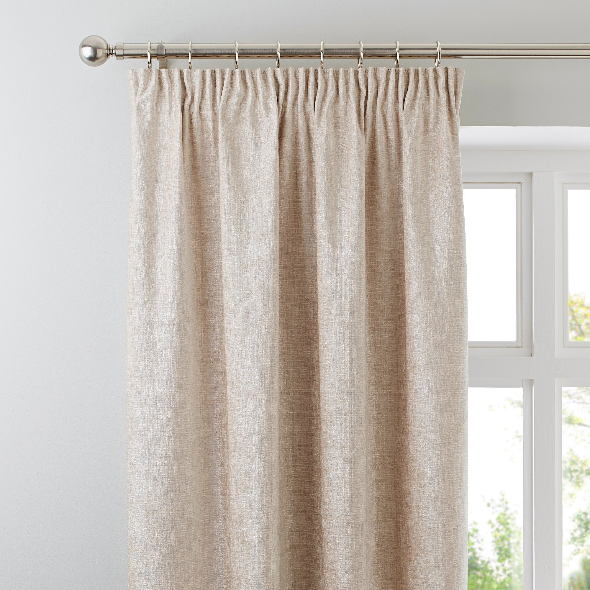 Cream Chenille Lined Pencil Pleat Curtains