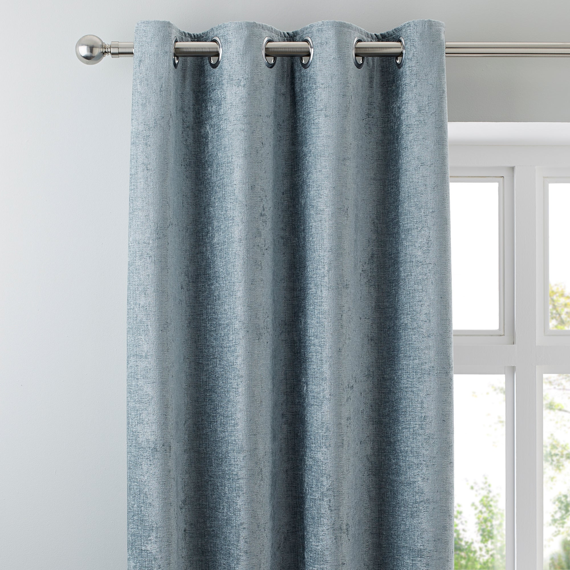 Duck Egg Chenille Lined Eyelet Curtains