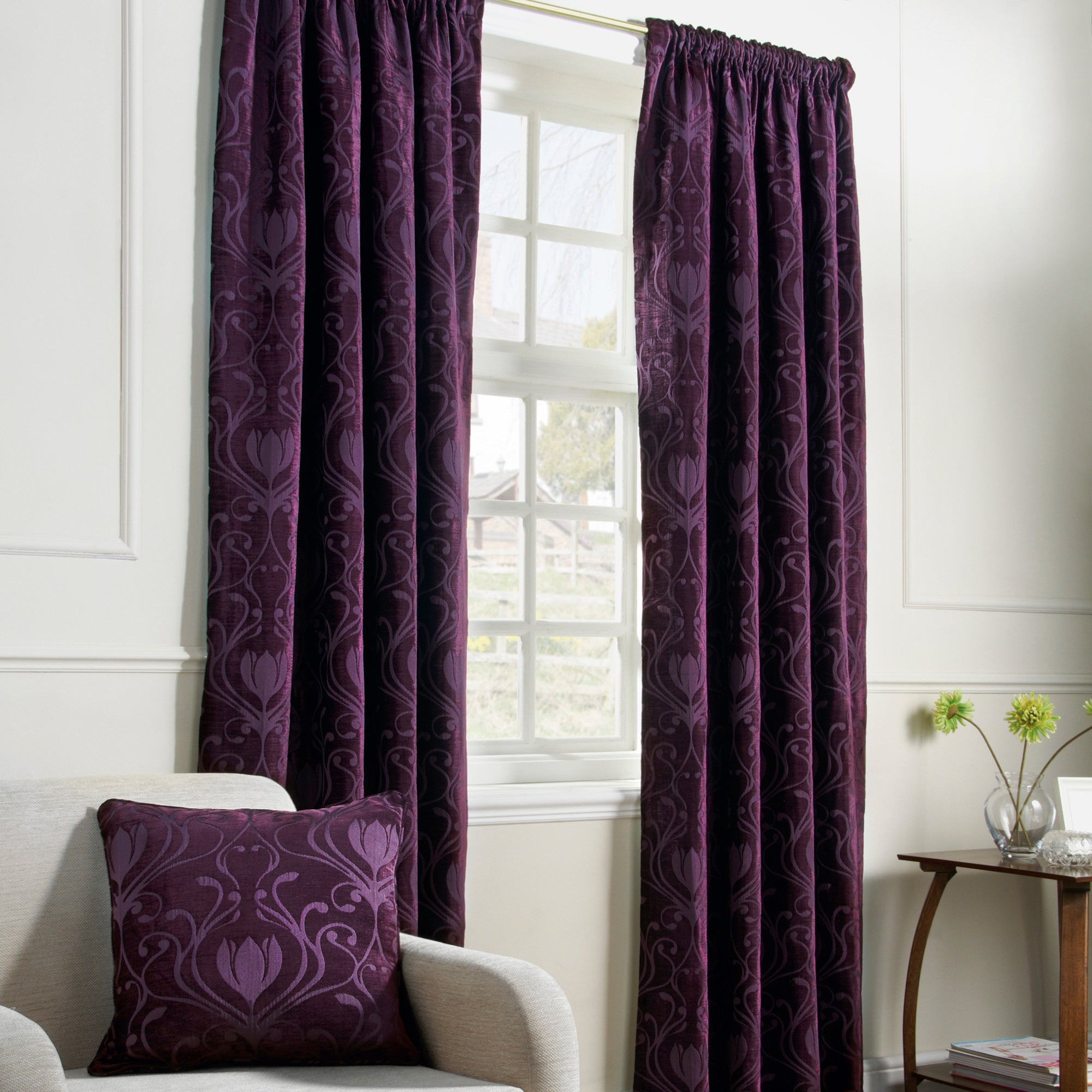 Aubergine Deco Lined Pencil Pleat Curtains