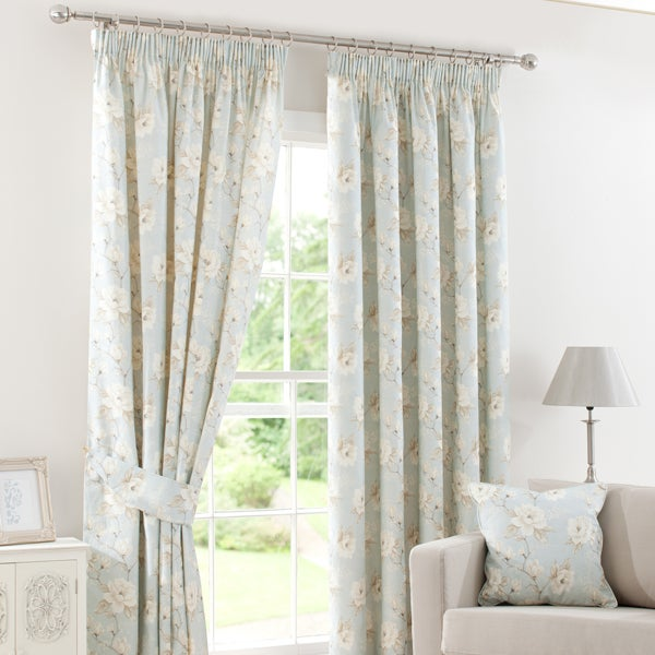 Duck Egg Country Garden Lined Pencil Pleat Curtains