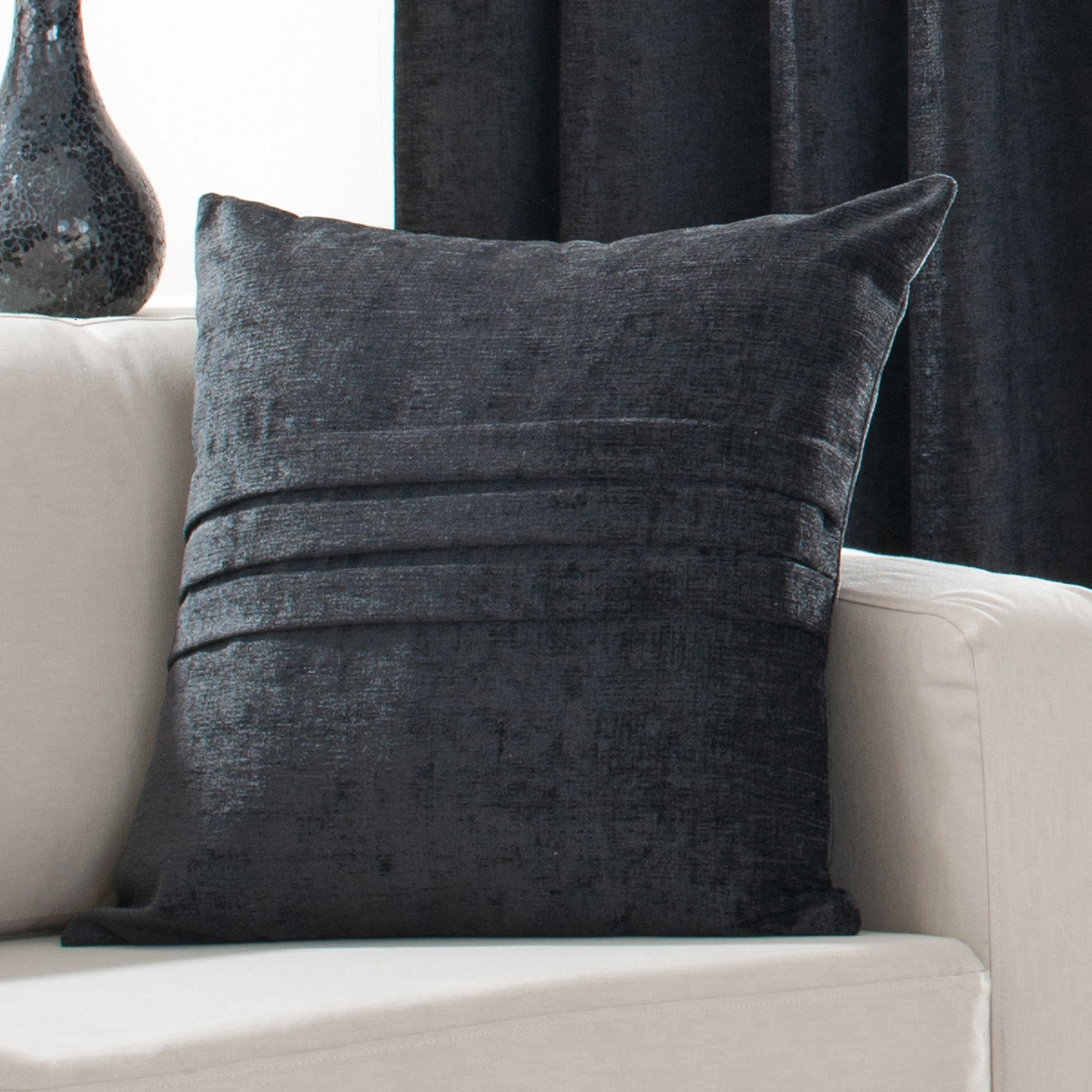 Black Chenille Collection Cushion