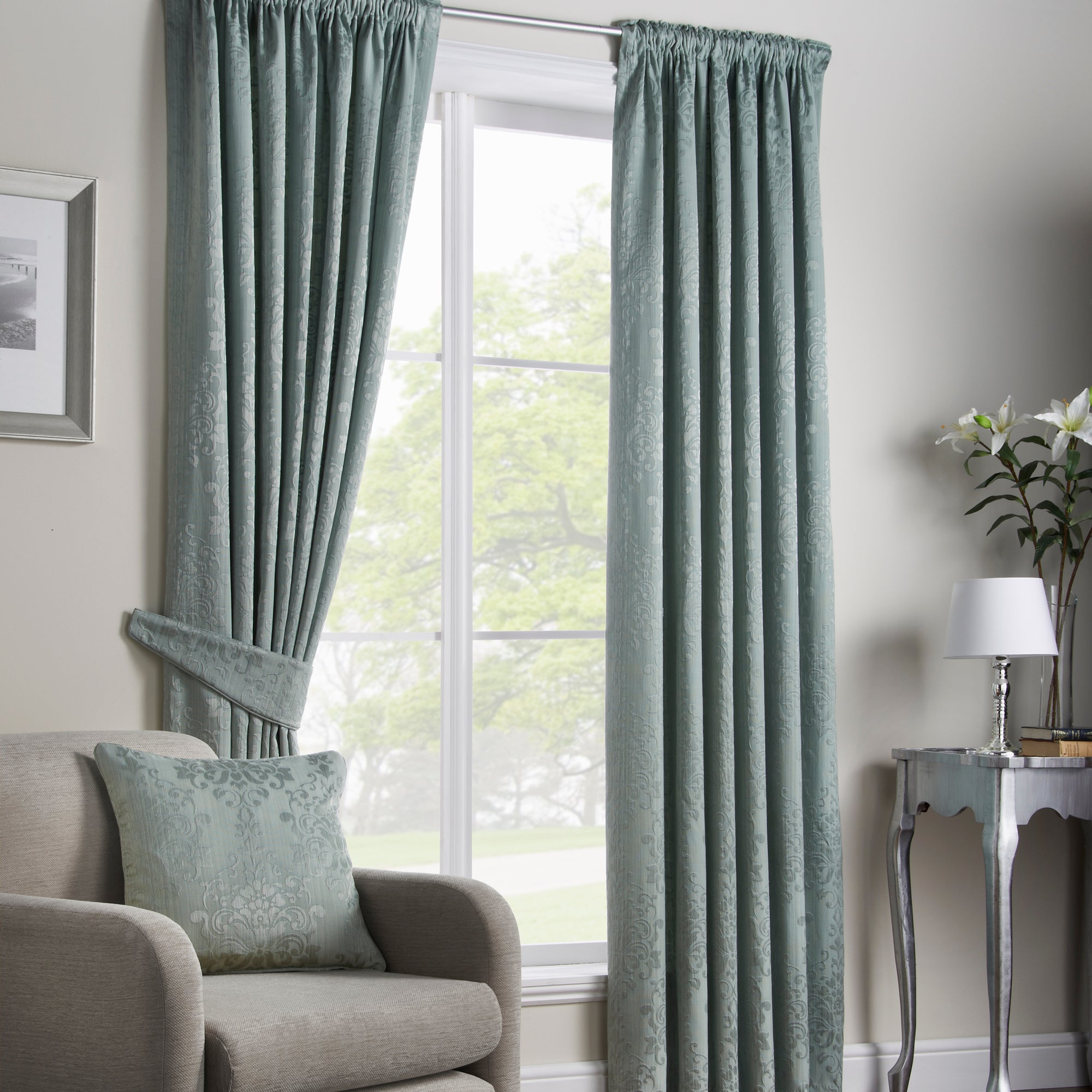 Duck Egg Murano Lined Pencil Pleat Curtains