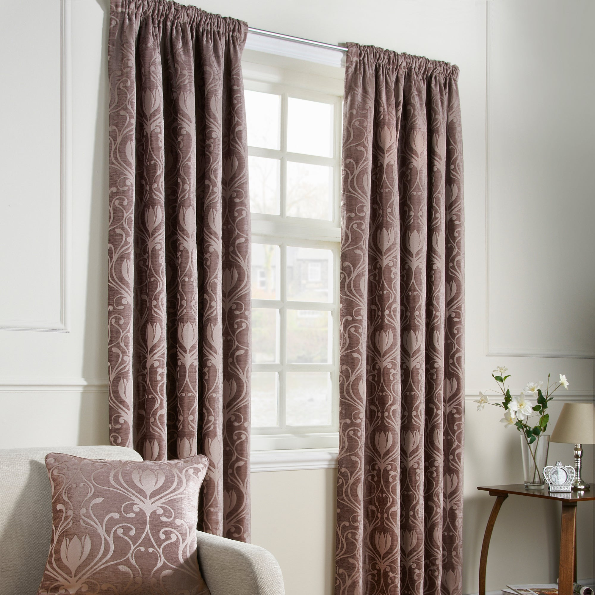 Mink Deco Lined Pencil Pleat Curtains