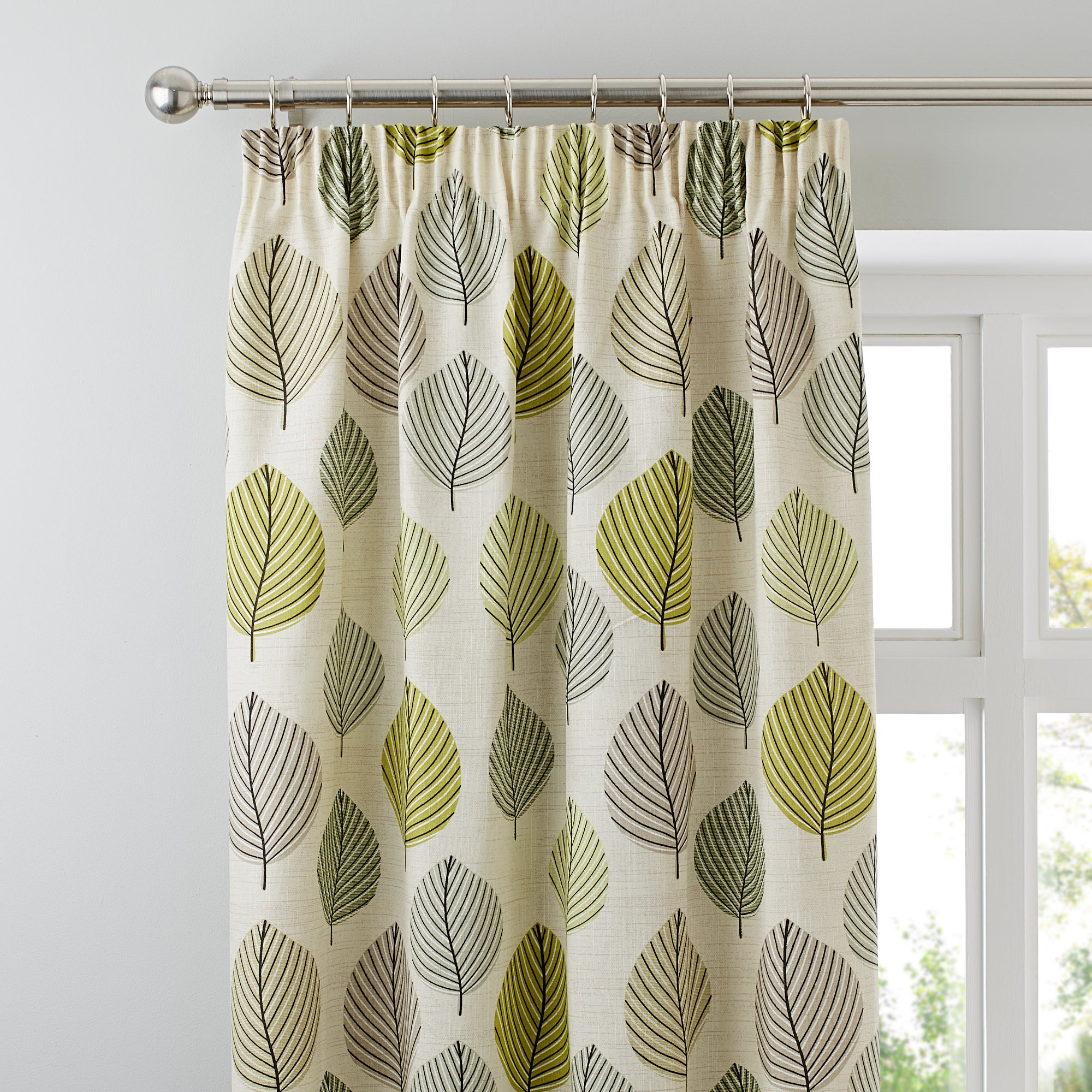 Green Regan Collection Lined Pencil Pleat Curtains