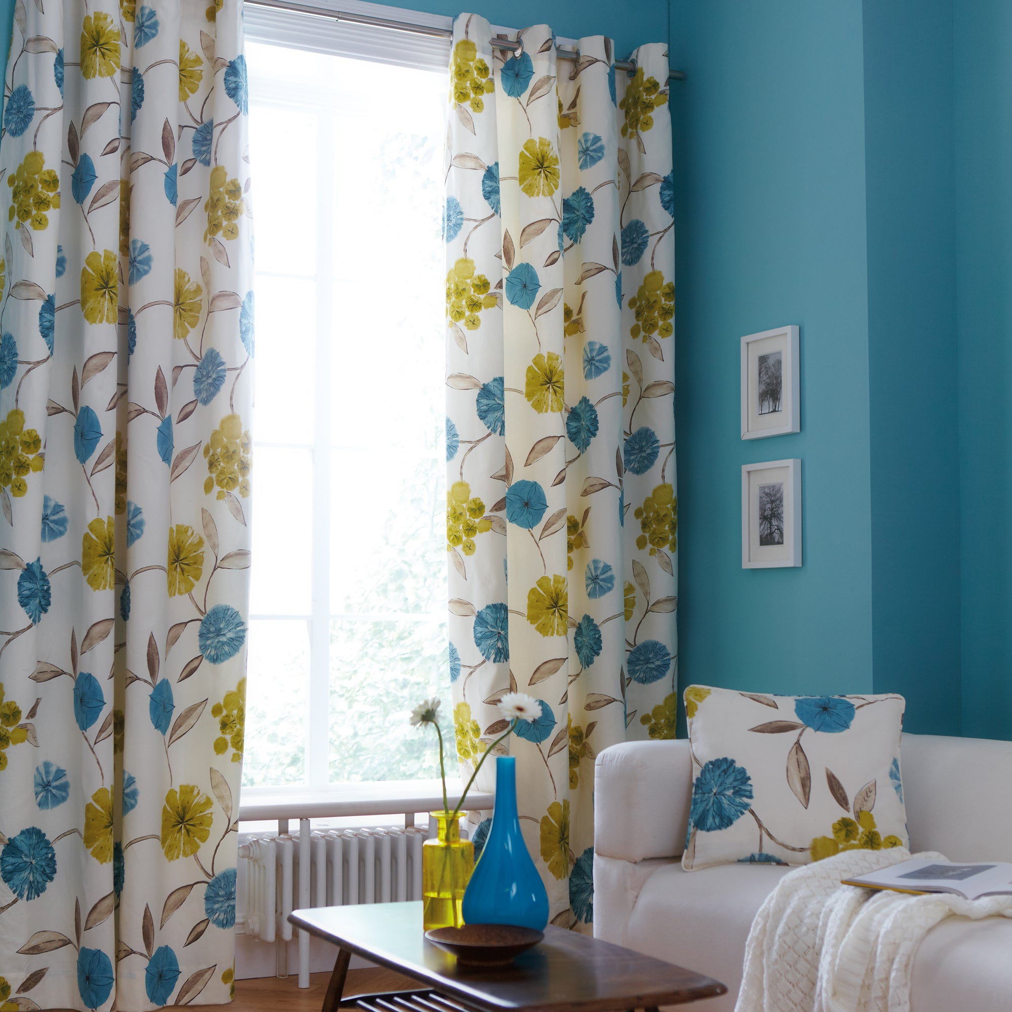 Teal Freya Lined Eyelet Curtains