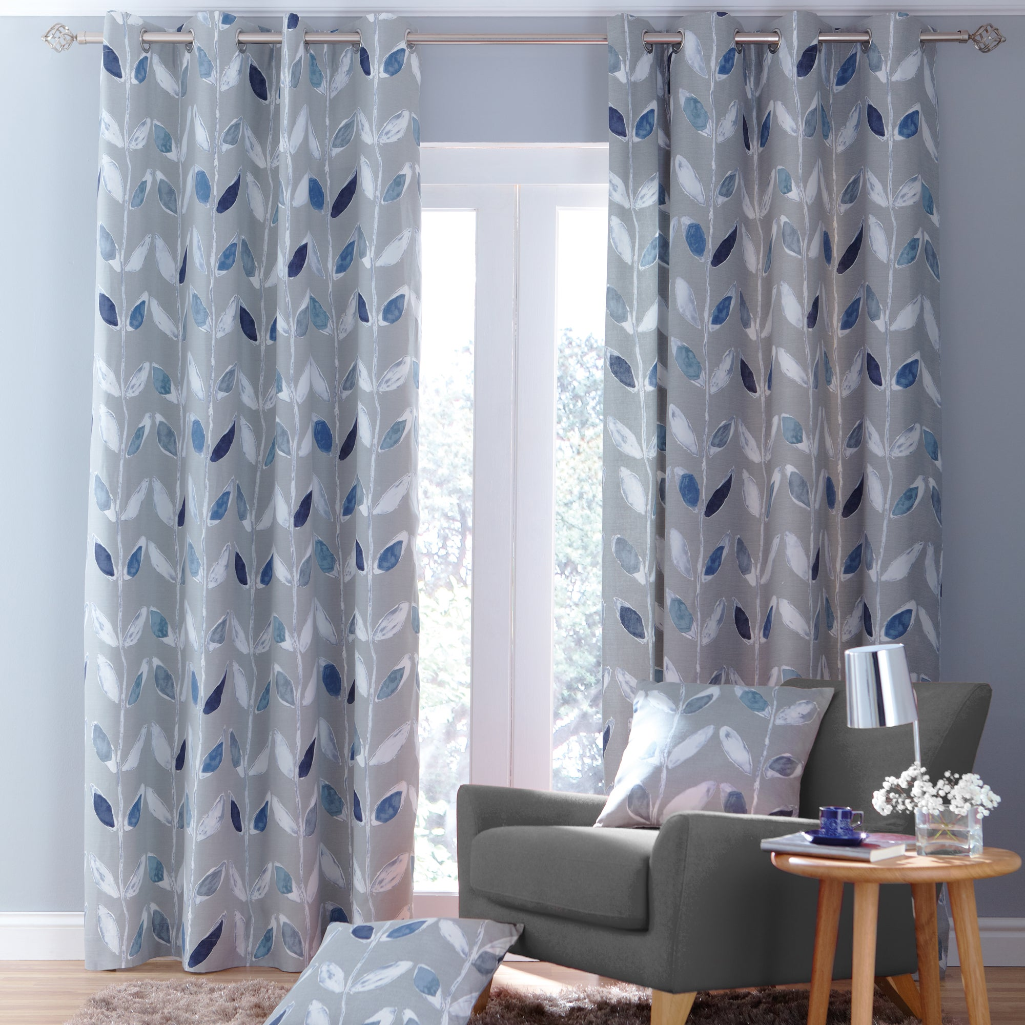 Blue Painted Leaves Lined Eyelet Curtains