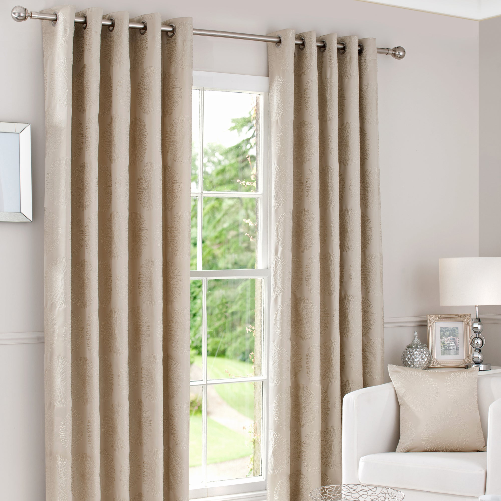 Gold Trinity Lined Eyelet Curtains