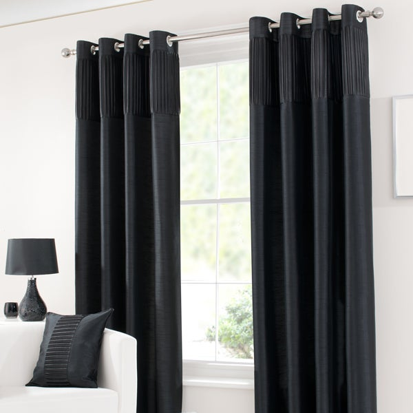 Black Montreal Lined Eyelet Curtains