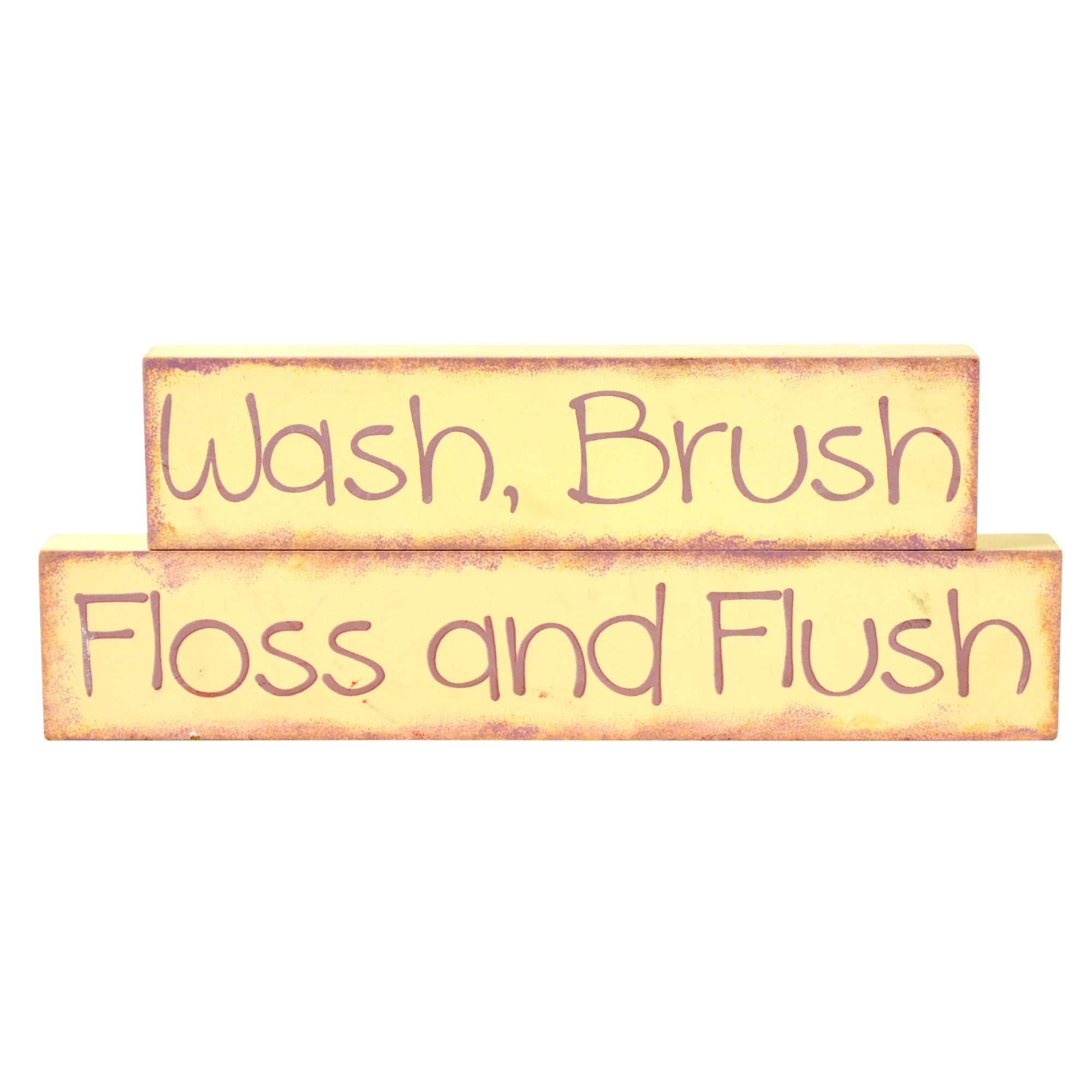 Wash Brush Floss And Flush Wooden Word Blocks Dunelm