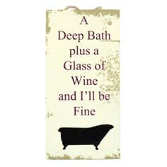 Wine and Bath Hanging Sign