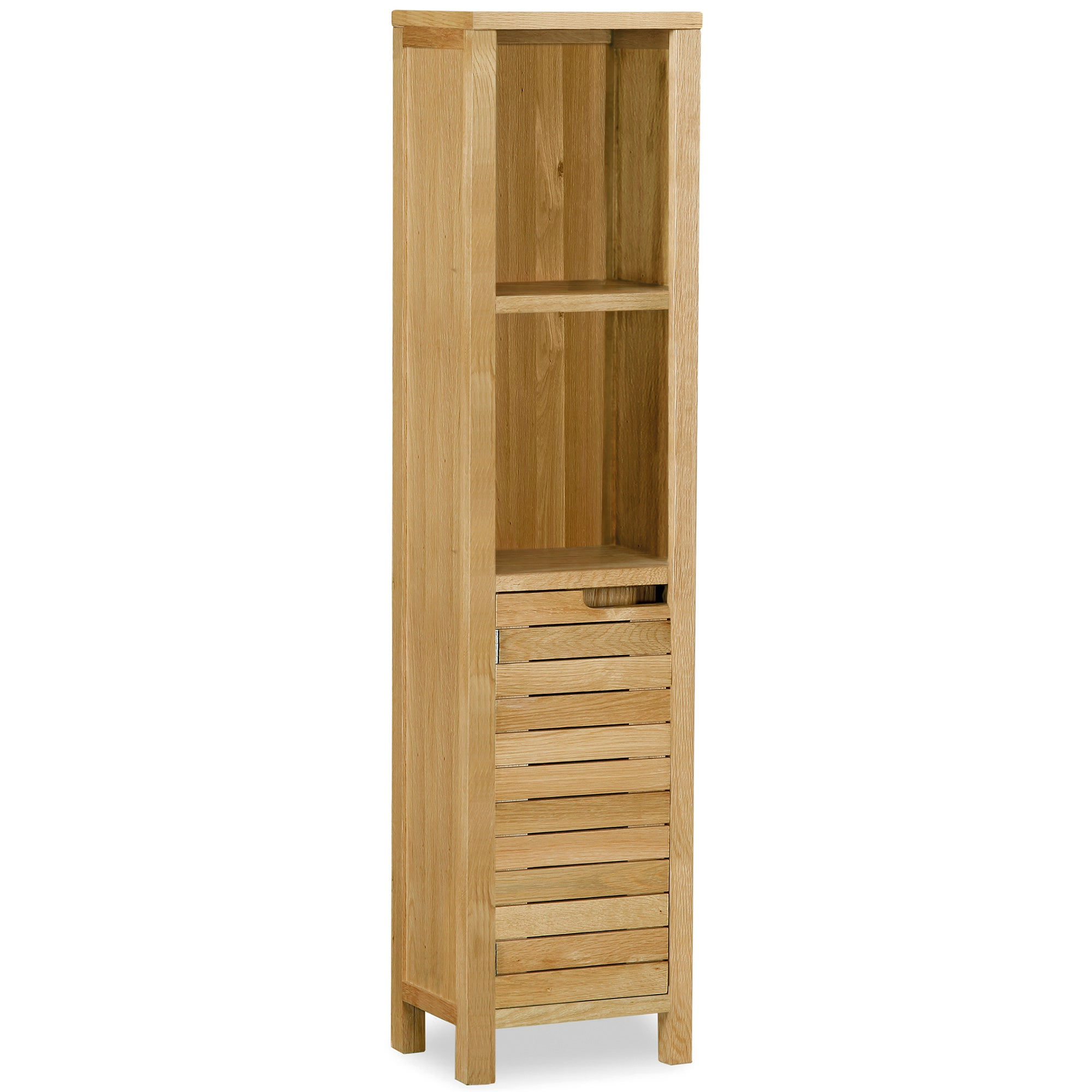 Milan Oak Slatted Tall Storage Unit