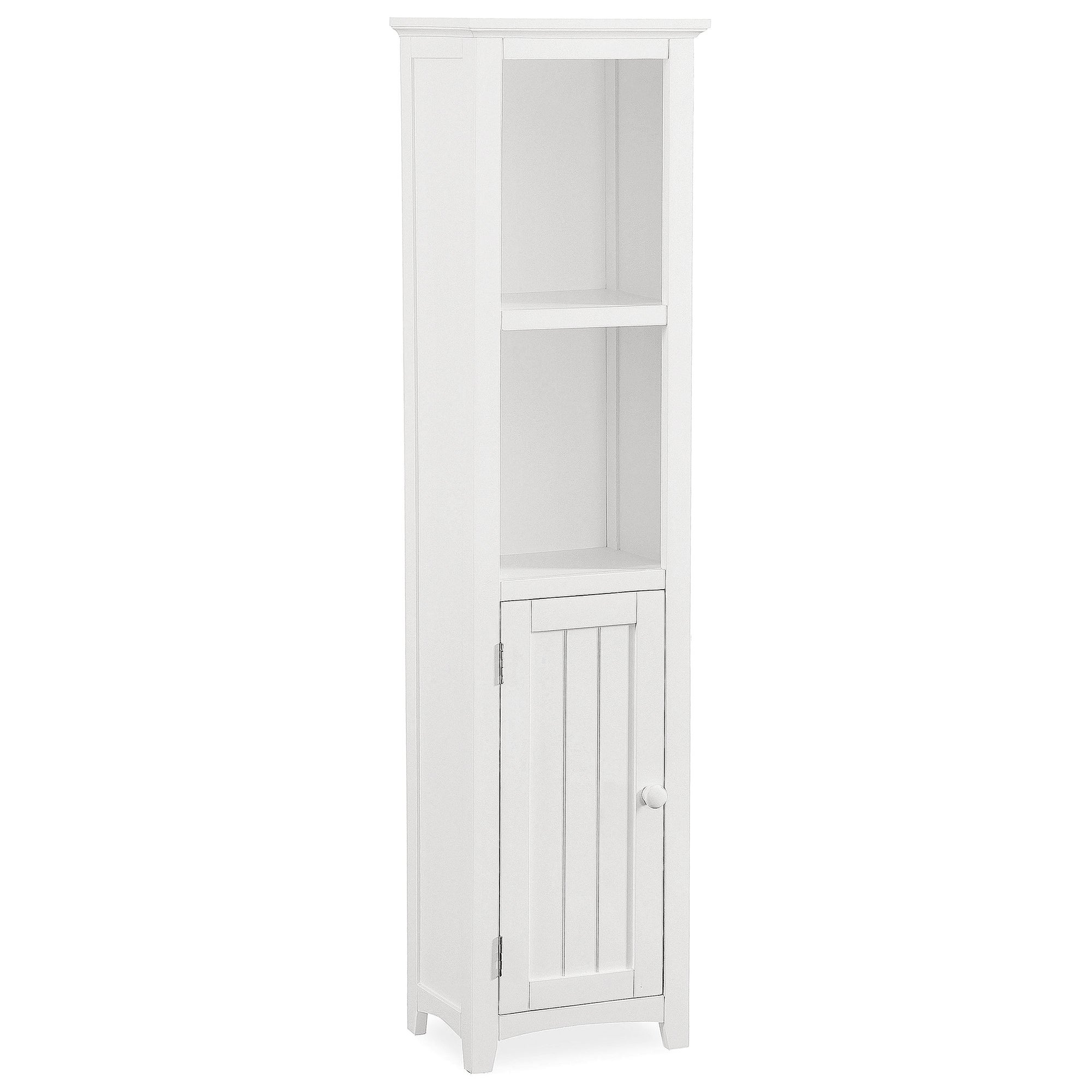 Monaco White Acacia Wood Tall Storage Unit