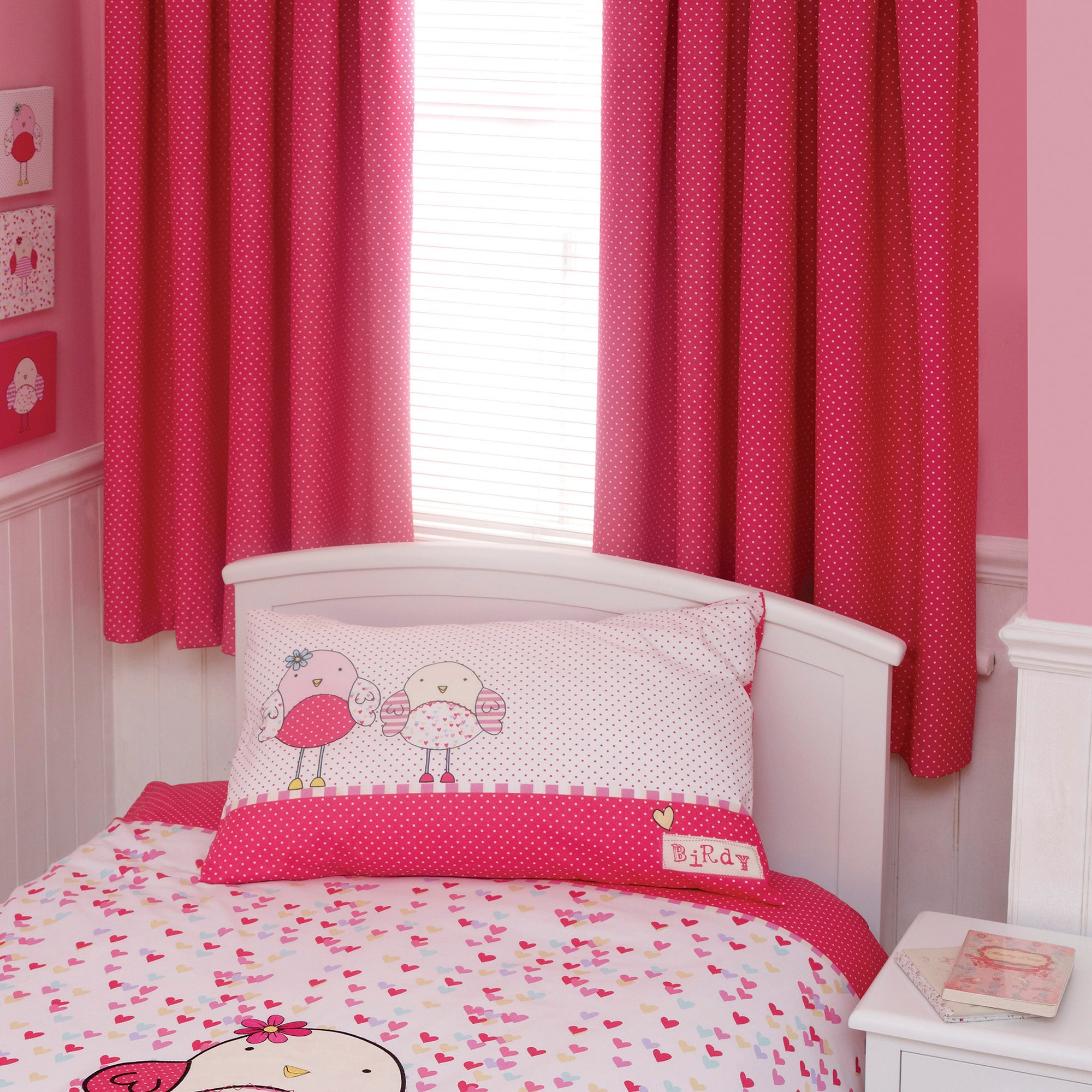 Kids Bella Birdy Lined Pencil Pleat Curtains