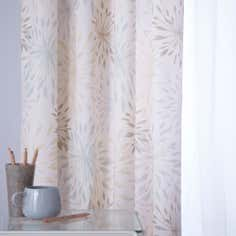 Duck Egg Floral Burst Thermal Pencil Pleat Curtains