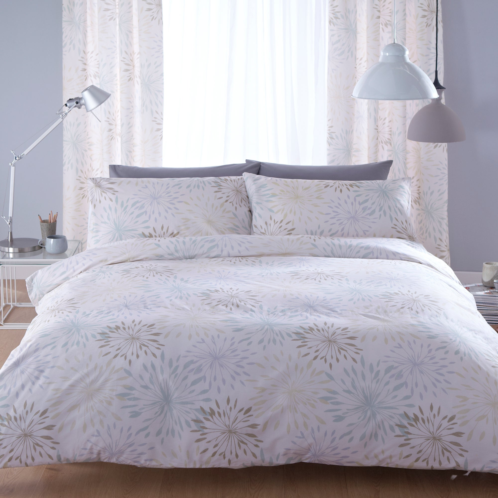 Duck Egg Floral Burst Collection Duvet Cover Set