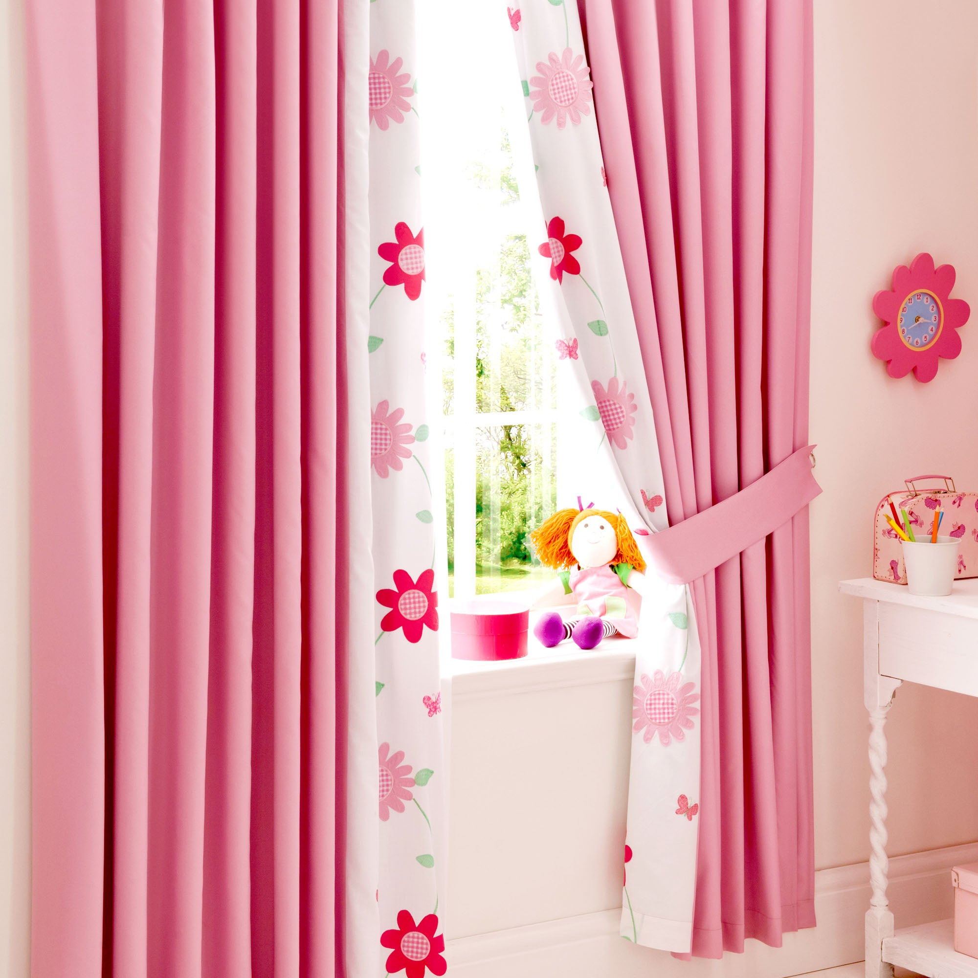 Kids Cerise Flower Garden Collection Blackout Pencil Pleat Curtains