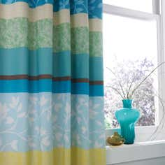 Blue Fresh Living Thermal Pencil Pleat Curtains