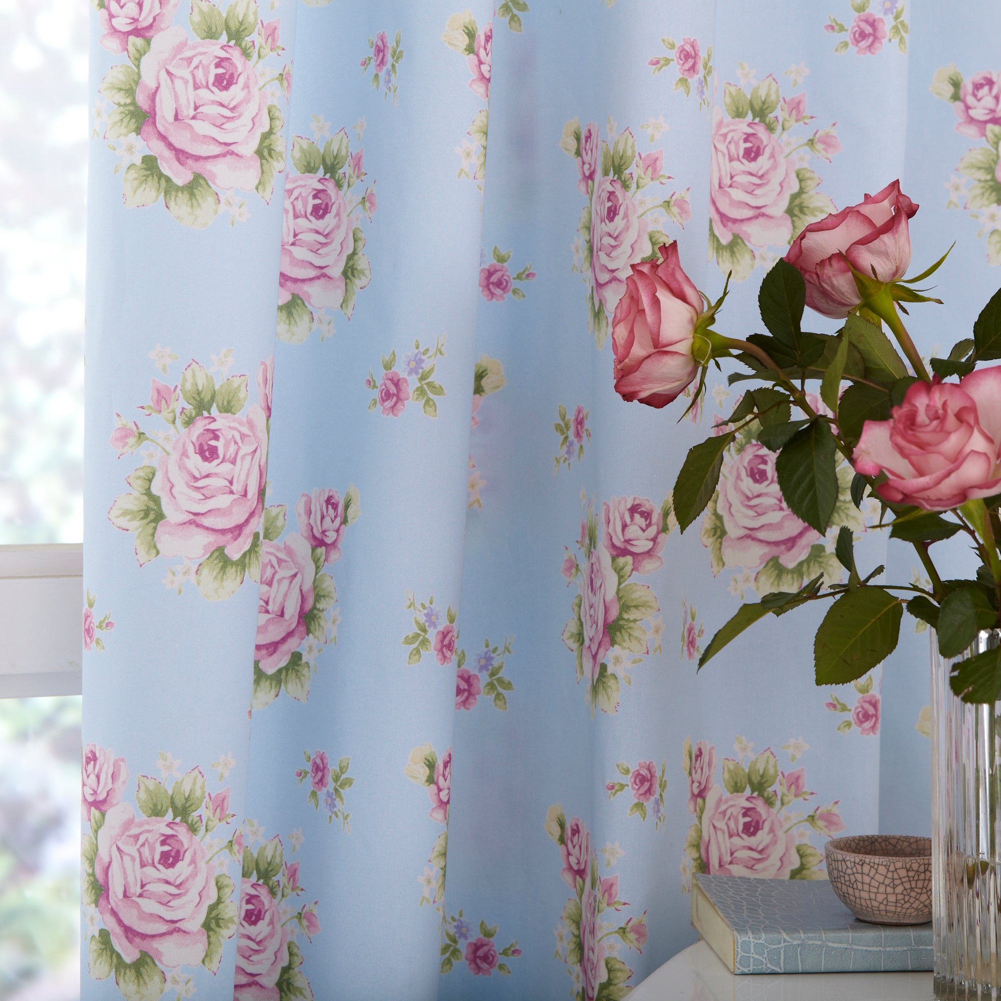 Duck Egg Viola Thermal Pencil Pleat Curtains