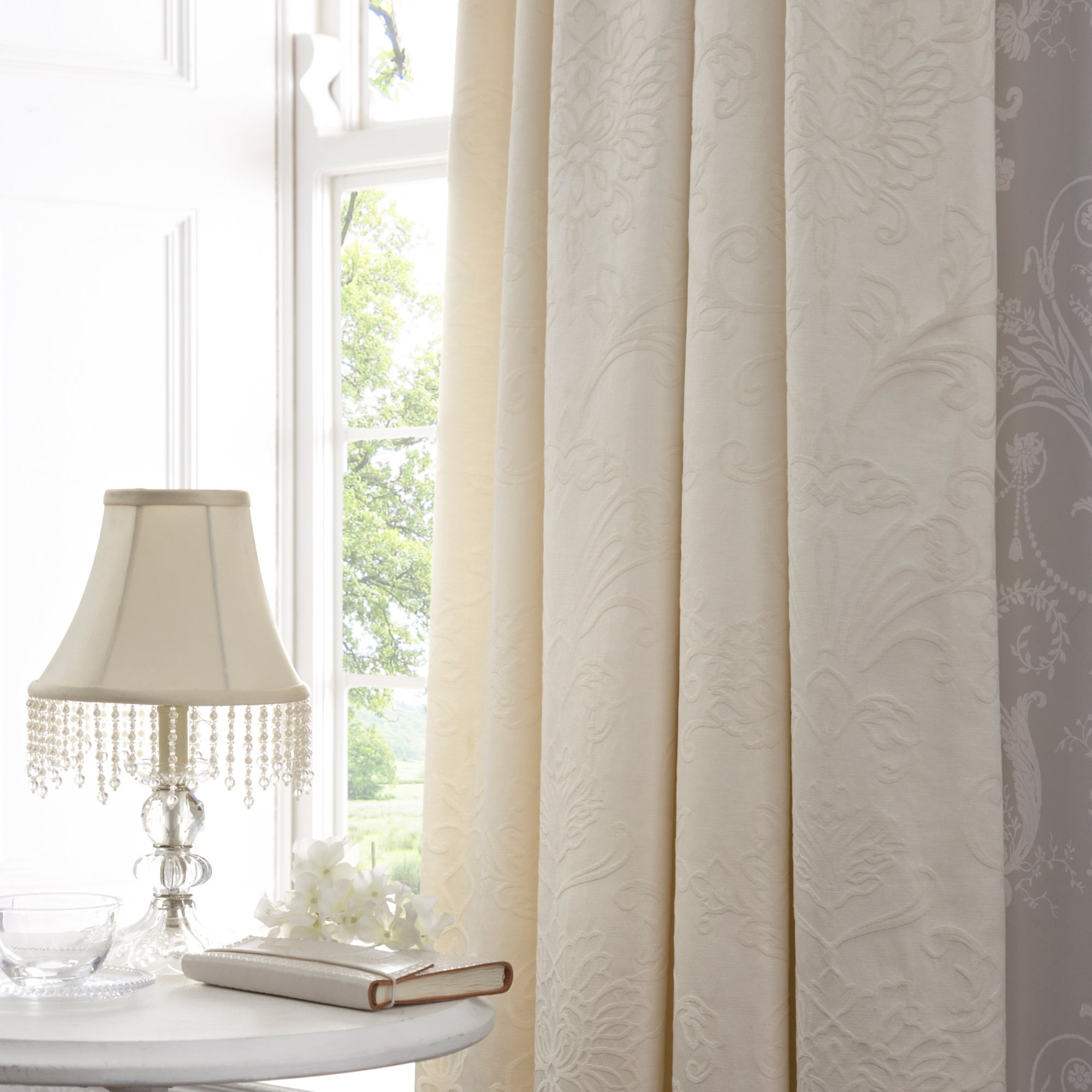 Dorma Cream Pascale Lined Pencil Pleat Curtains