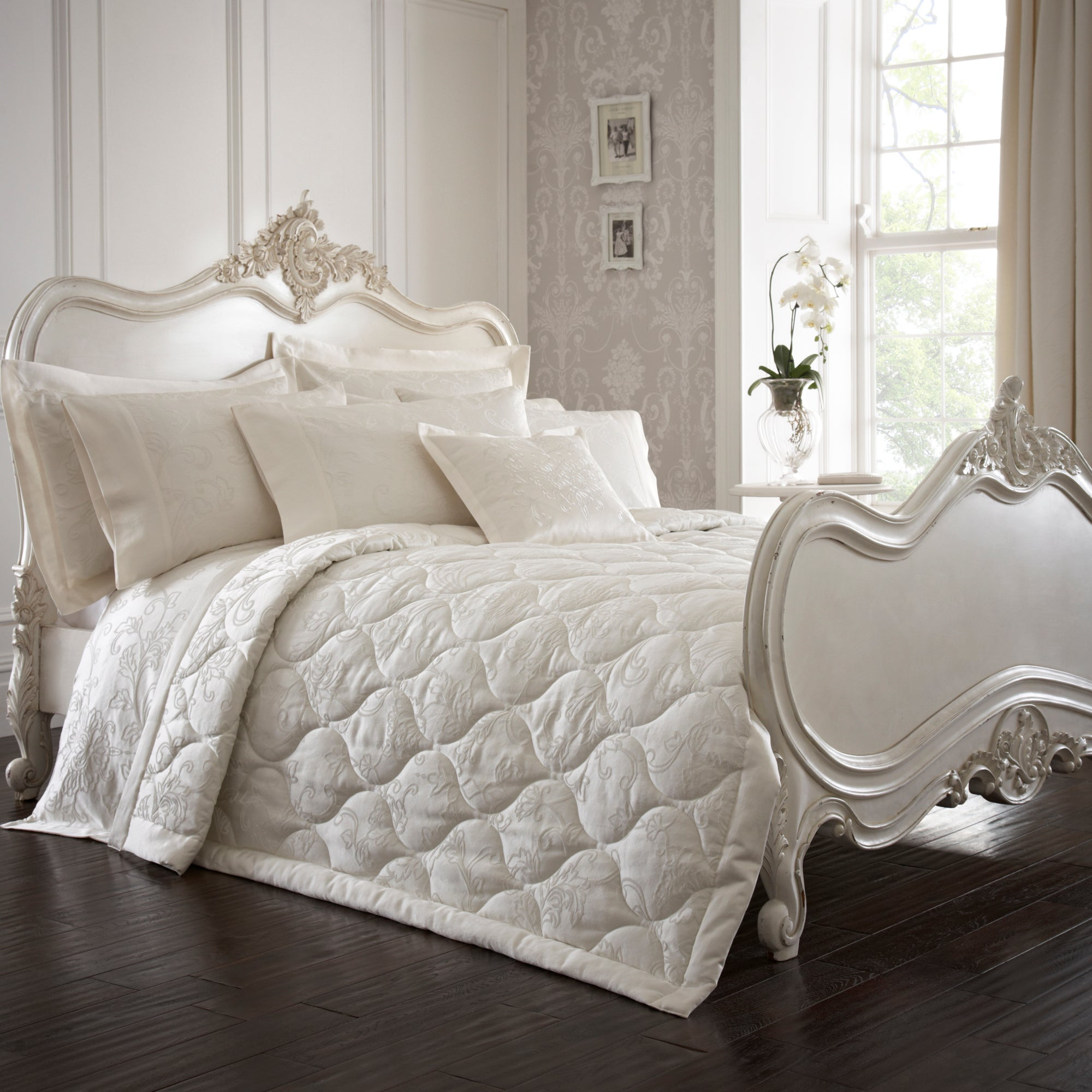 Dorma Cream Pascale Collection Quilted Throw