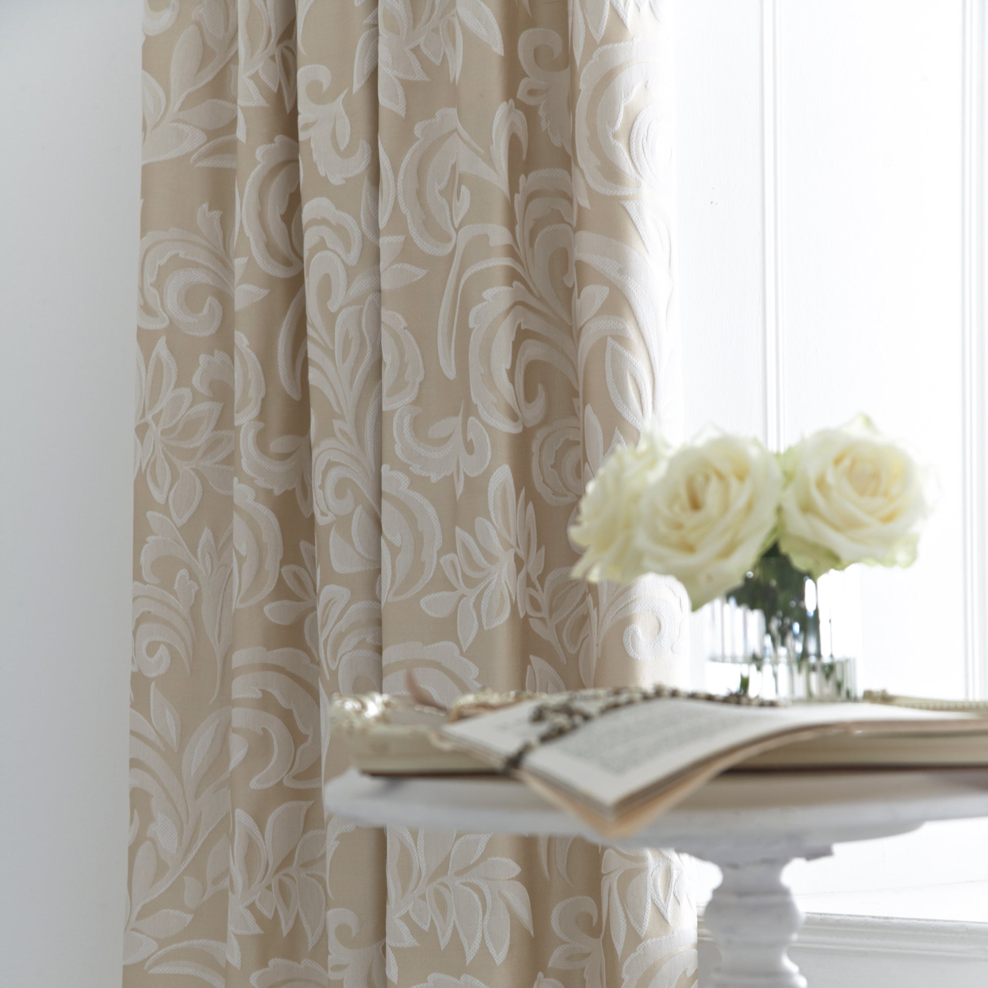 Dorma Gold Versailles Lined Pencil Pleat Curtains