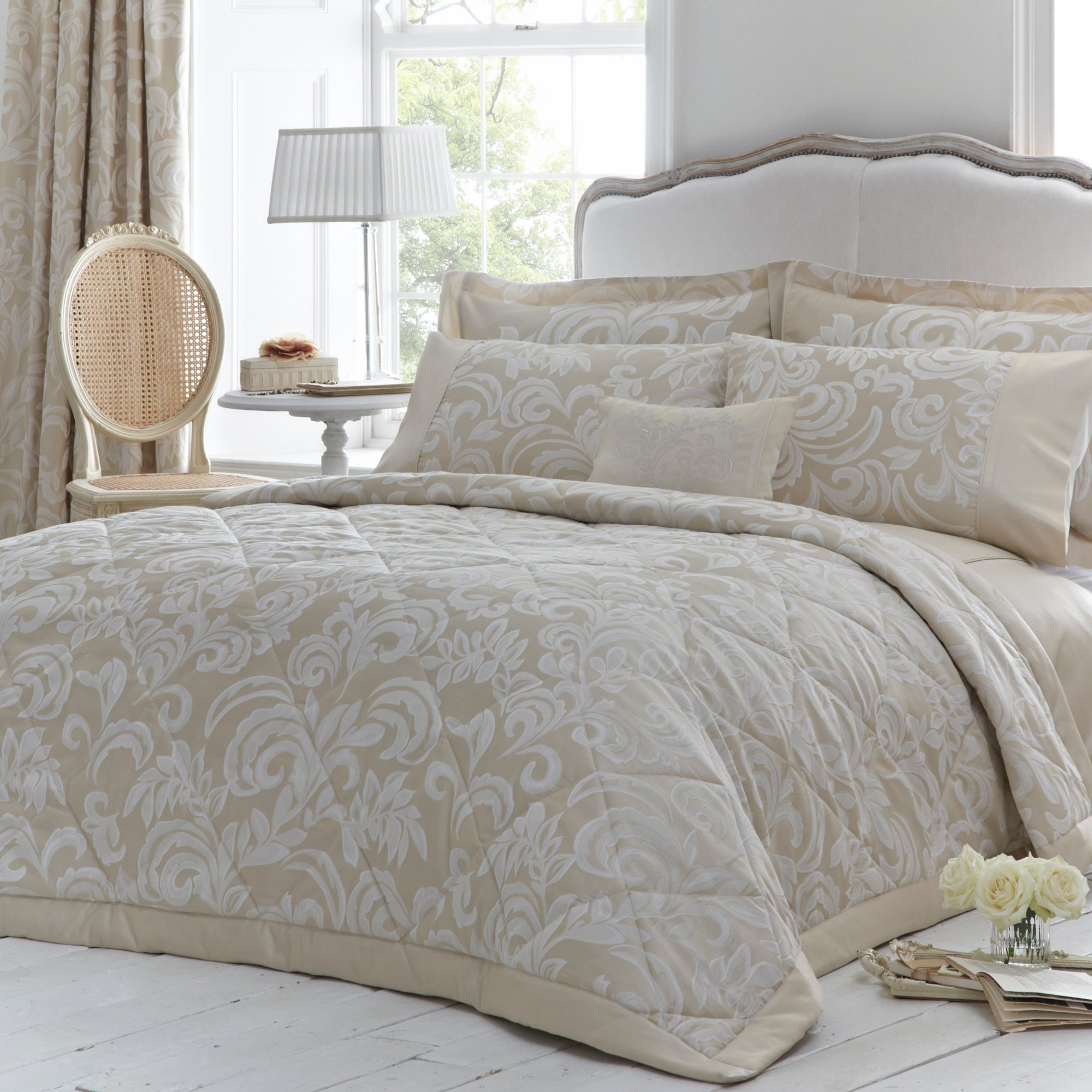 Dorma Gold Versailles Collection Quilted Throw